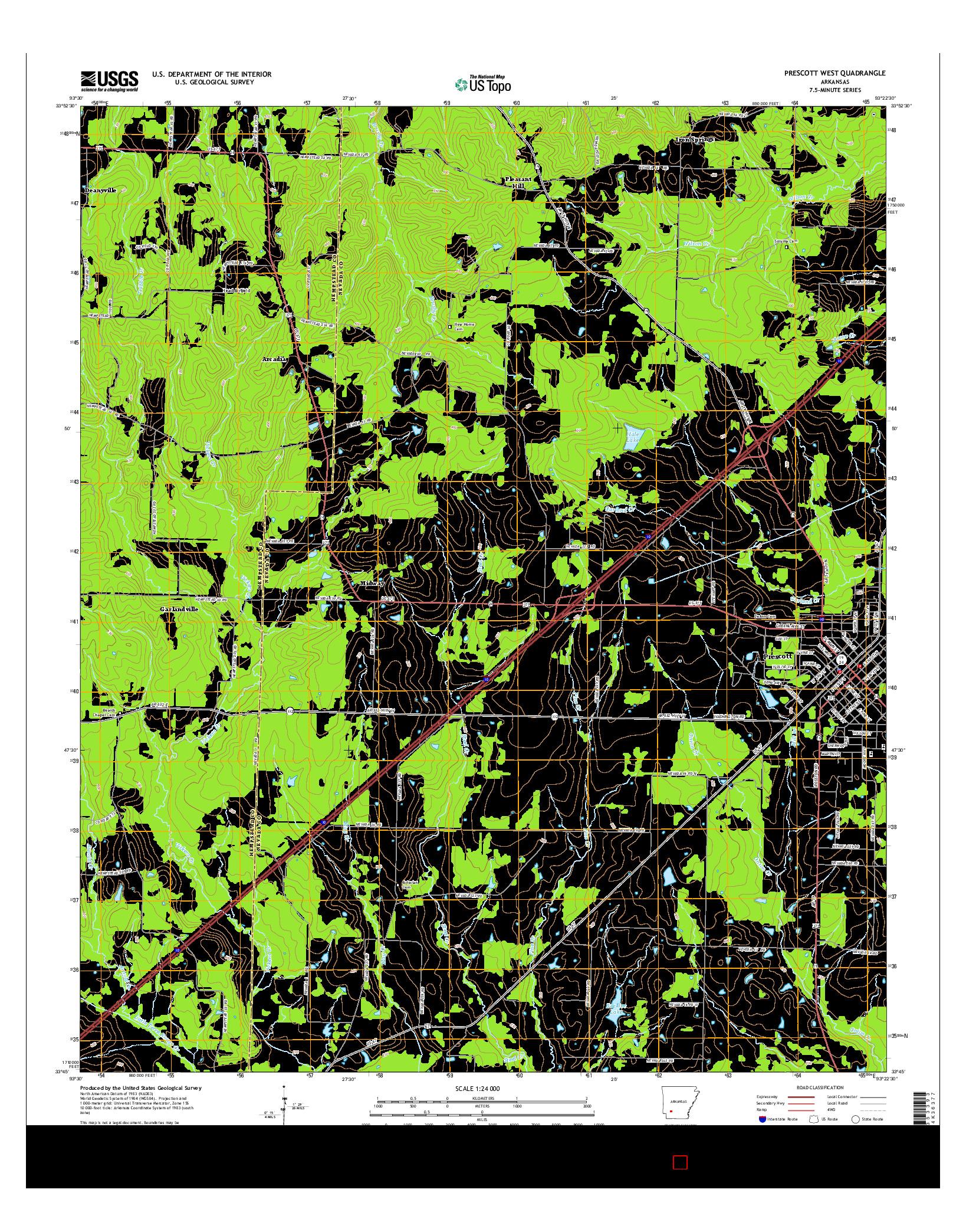 USGS US TOPO 7.5-MINUTE MAP FOR PRESCOTT WEST, AR 2014