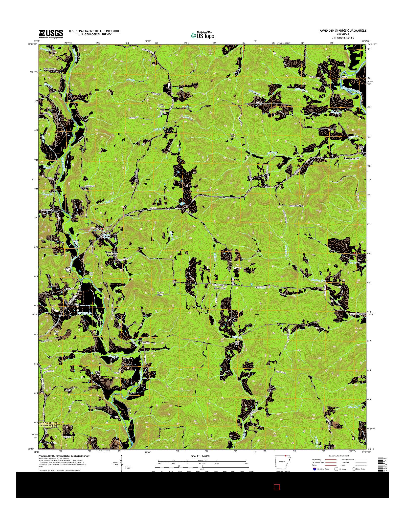 USGS US TOPO 7.5-MINUTE MAP FOR RAVENDEN SPRINGS, AR 2014