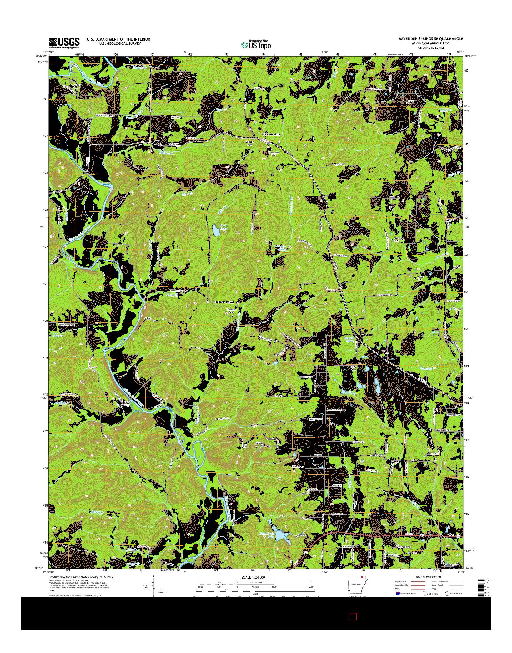 USGS US TOPO 7.5-MINUTE MAP FOR RAVENDEN SPRINGS SE, AR 2014