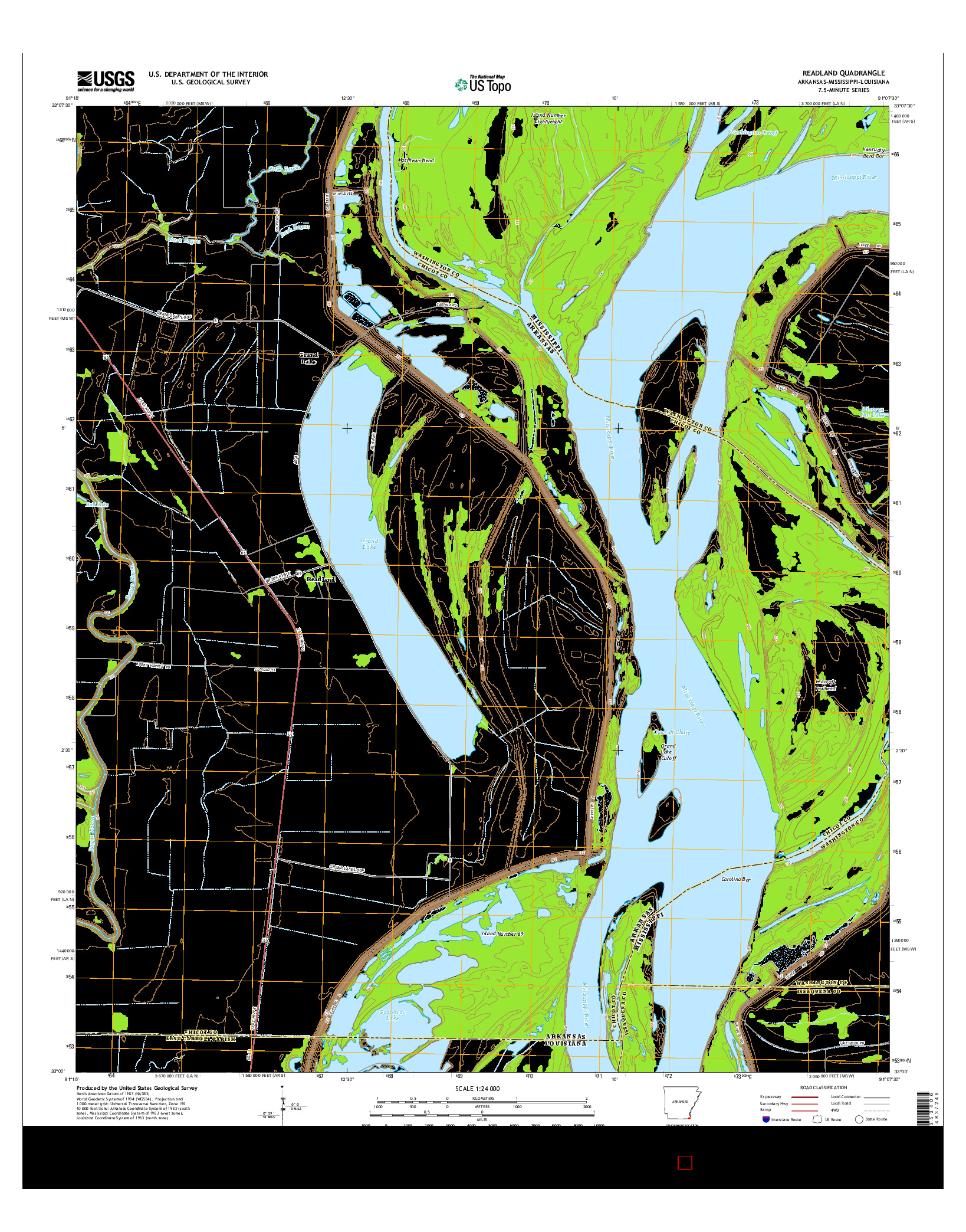 USGS US TOPO 7.5-MINUTE MAP FOR READLAND, AR-MS-LA 2014