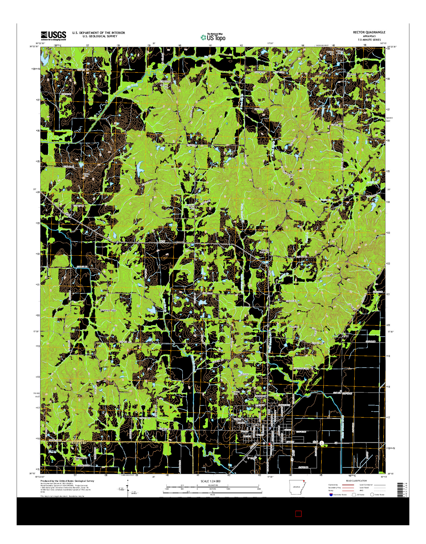 USGS US TOPO 7.5-MINUTE MAP FOR RECTOR, AR 2014