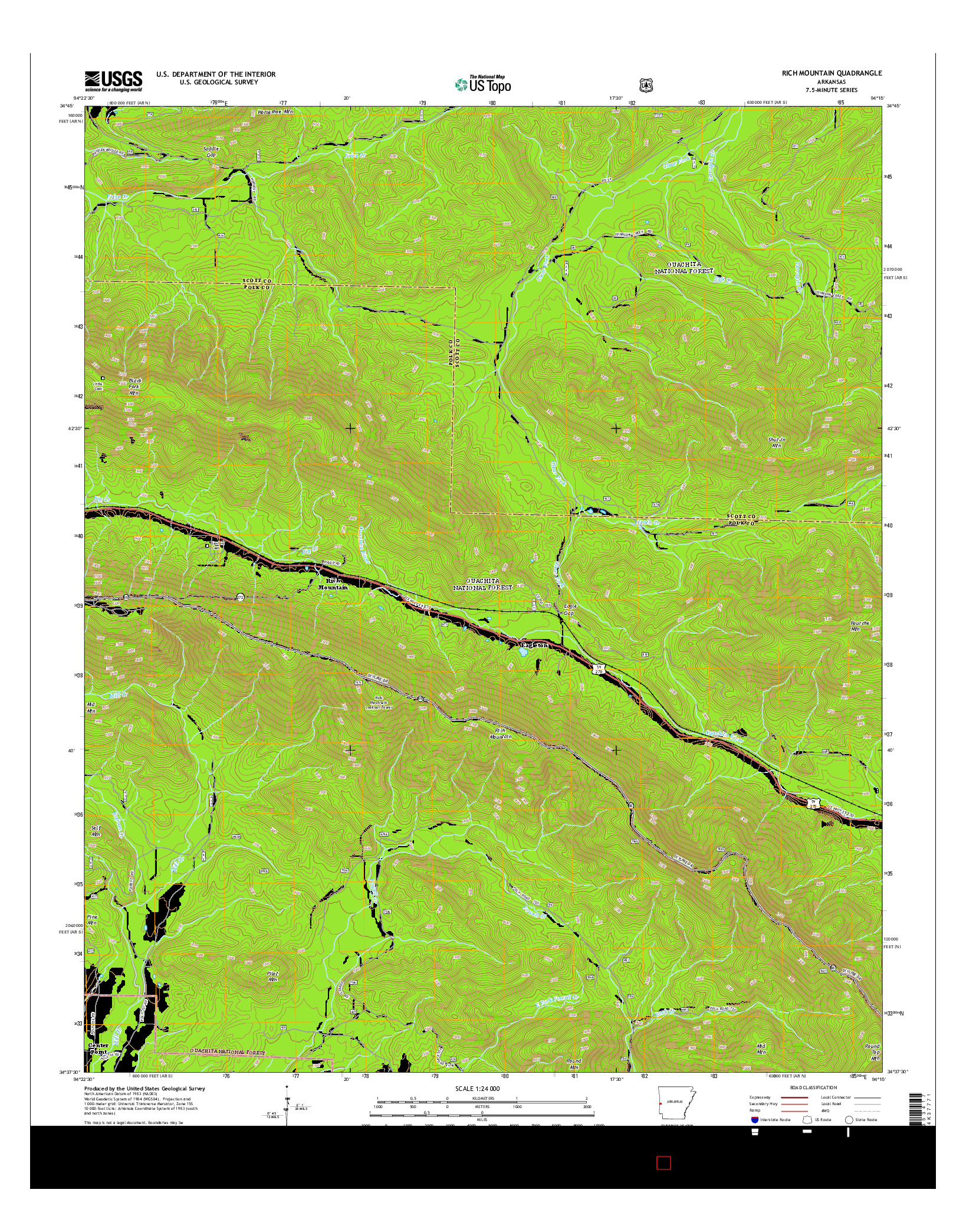 USGS US TOPO 7.5-MINUTE MAP FOR RICH MOUNTAIN, AR 2014