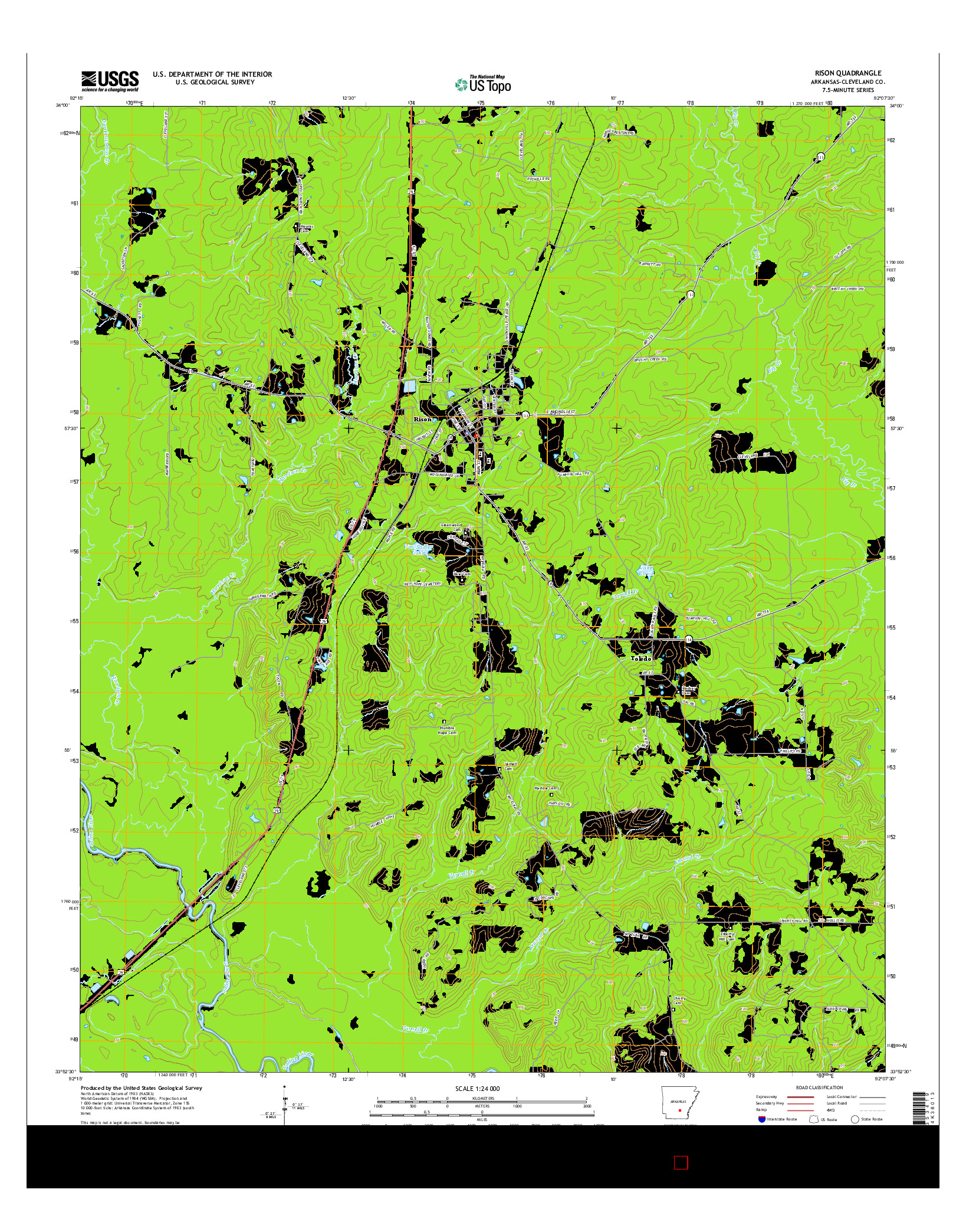 USGS US TOPO 7.5-MINUTE MAP FOR RISON, AR 2014