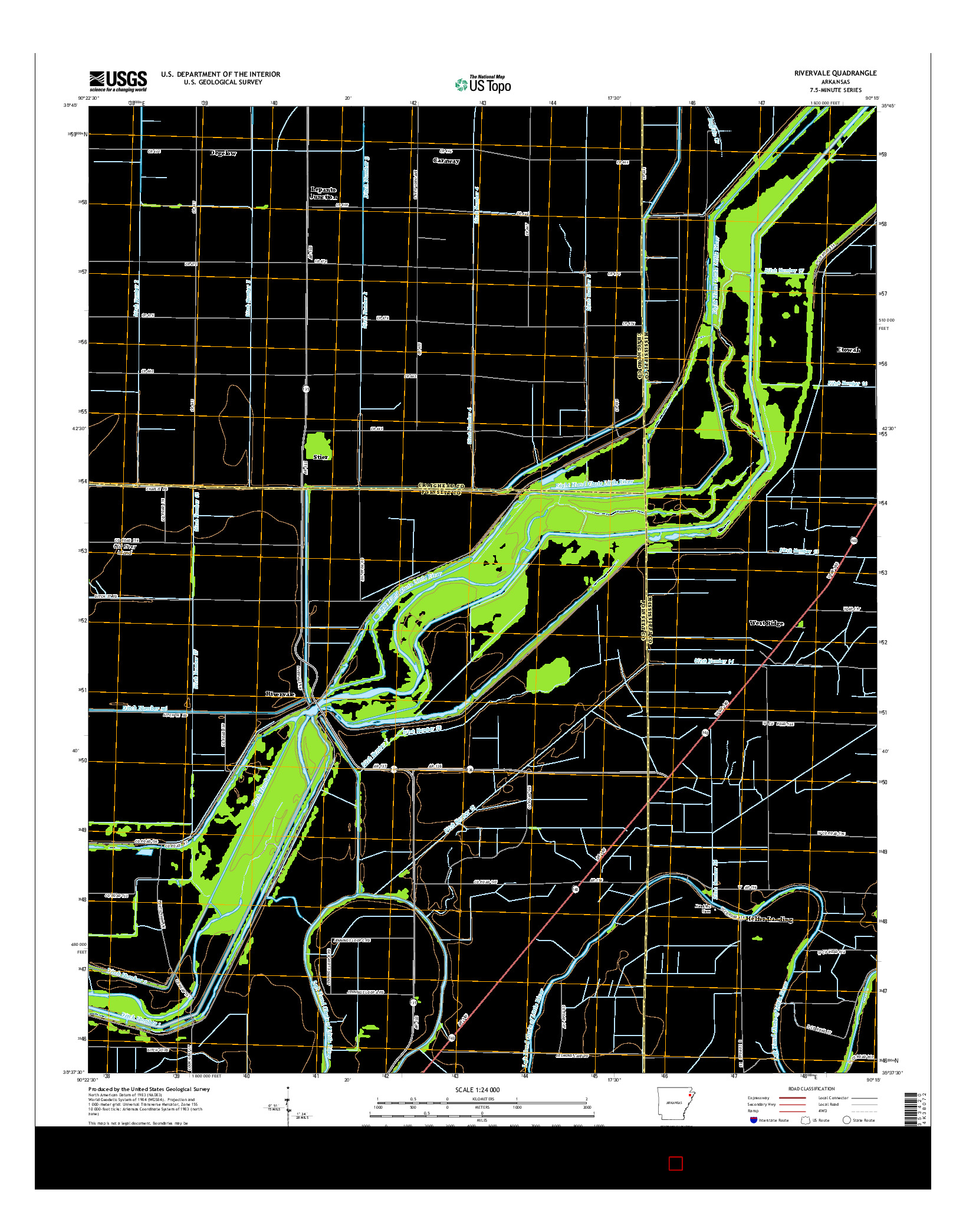 USGS US TOPO 7.5-MINUTE MAP FOR RIVERVALE, AR 2014