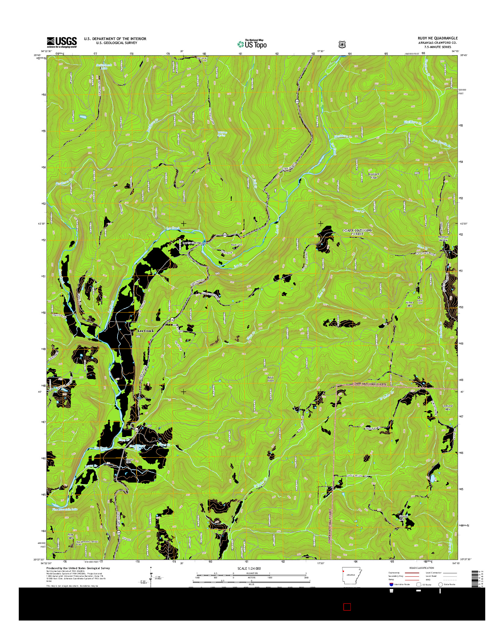USGS US TOPO 7.5-MINUTE MAP FOR RUDY NE, AR 2014