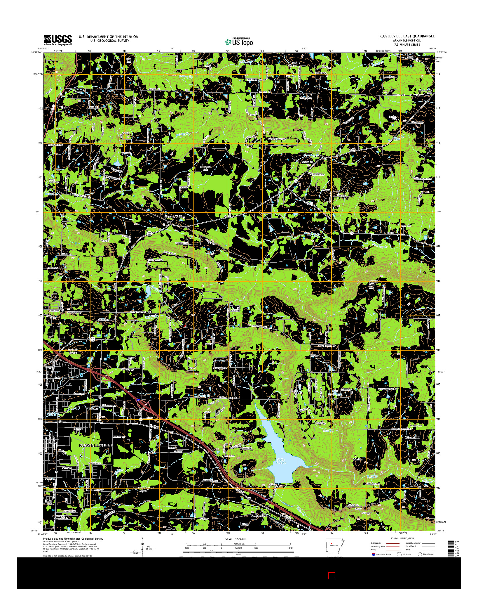 USGS US TOPO 7.5-MINUTE MAP FOR RUSSELLVILLE EAST, AR 2014