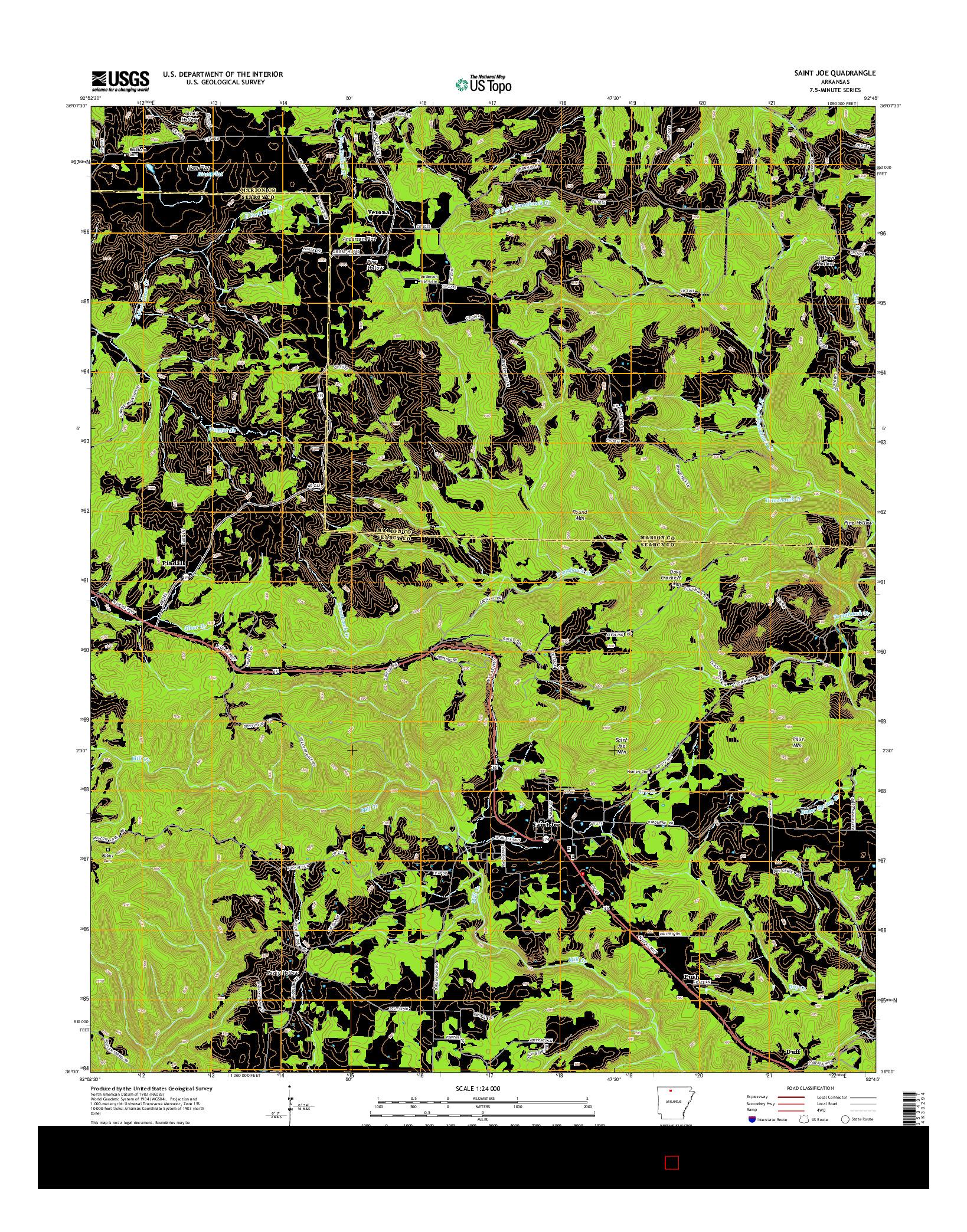 USGS US TOPO 7.5-MINUTE MAP FOR SAINT JOE, AR 2014
