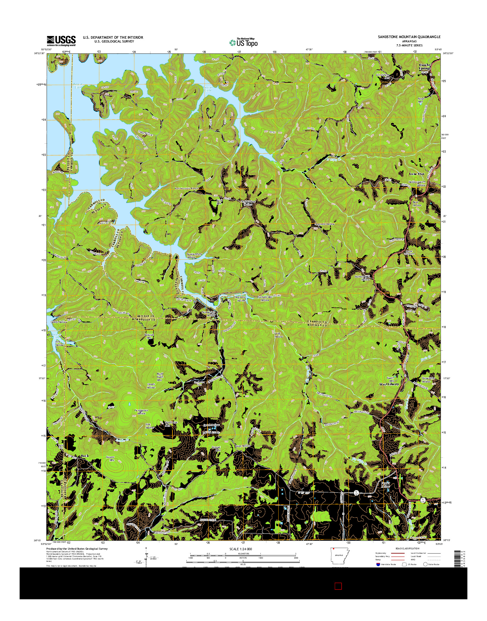 USGS US TOPO 7.5-MINUTE MAP FOR SANDSTONE MOUNTAIN, AR 2014