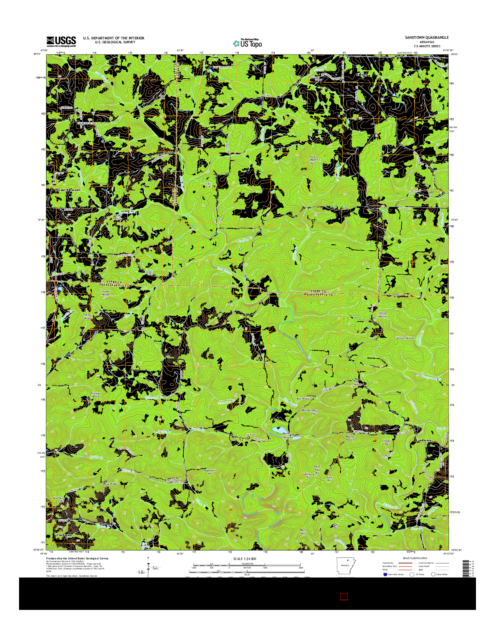 USGS US TOPO 7.5-MINUTE MAP FOR SANDTOWN, AR 2014