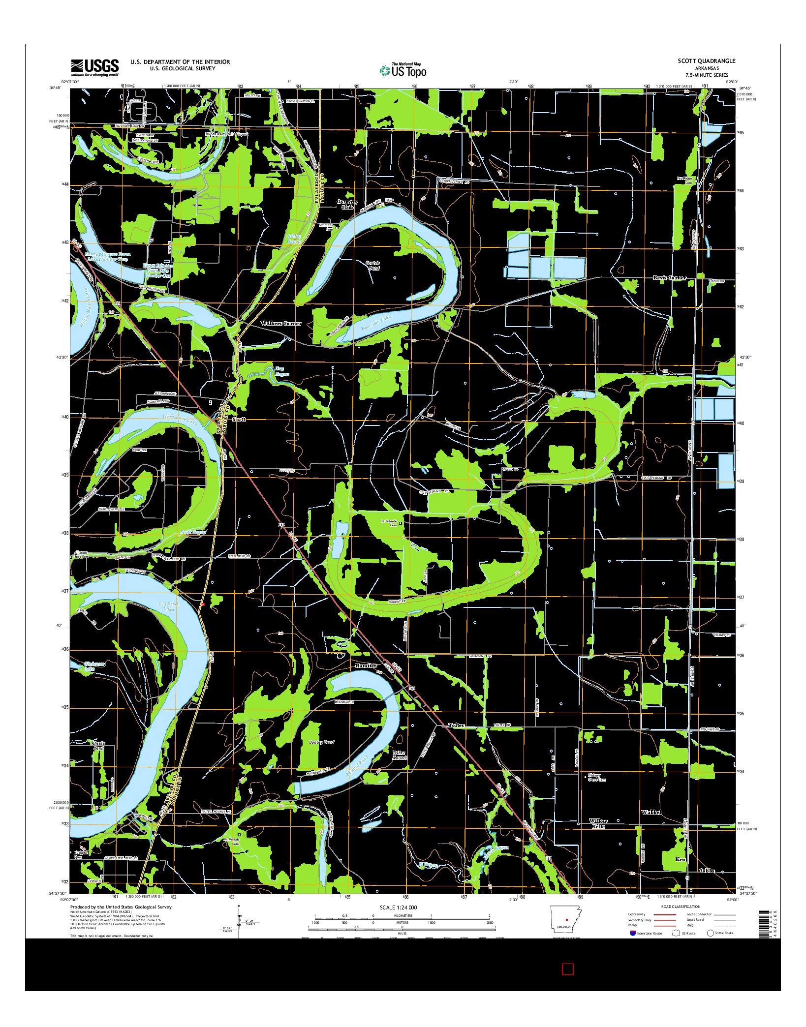 USGS US TOPO 7.5-MINUTE MAP FOR SCOTT, AR 2014