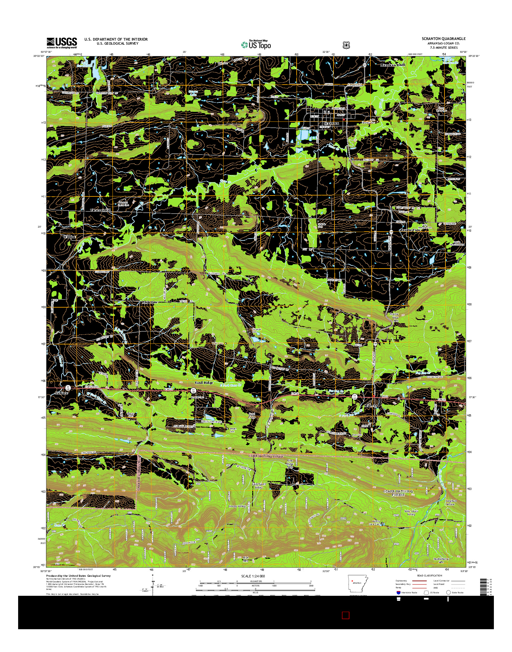 USGS US TOPO 7.5-MINUTE MAP FOR SCRANTON, AR 2014