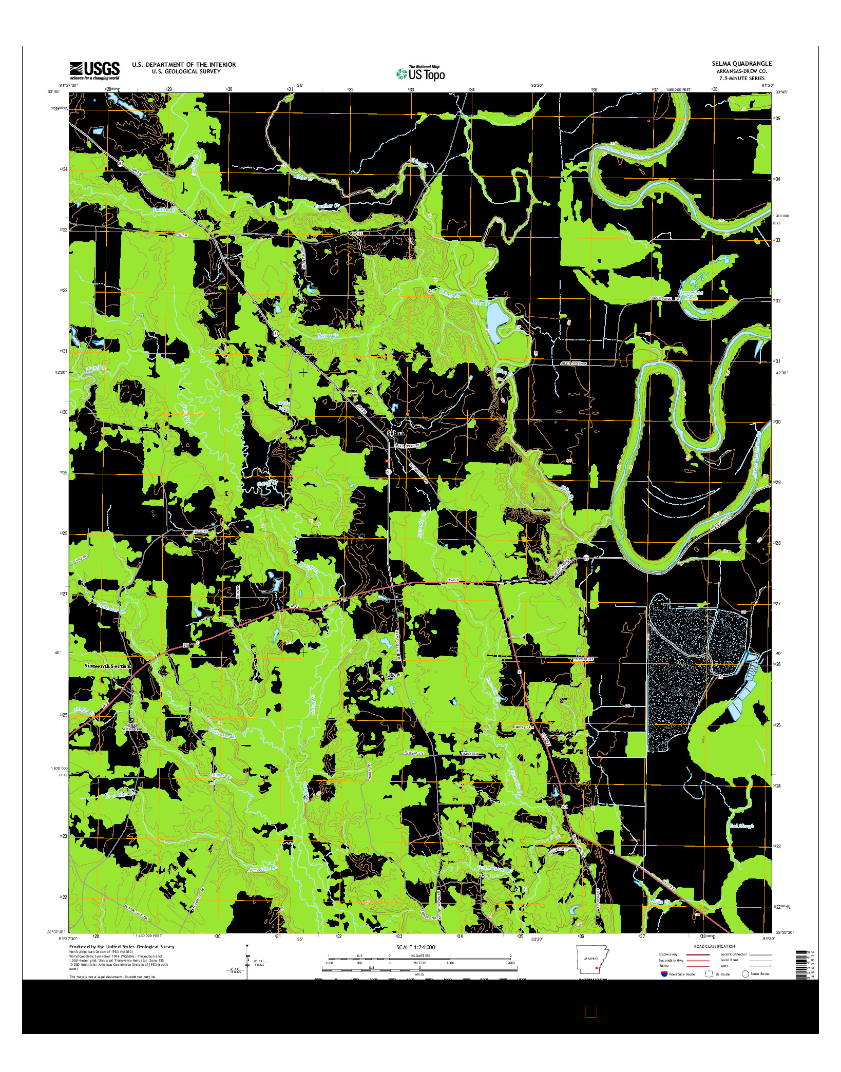 USGS US TOPO 7.5-MINUTE MAP FOR SELMA, AR 2014
