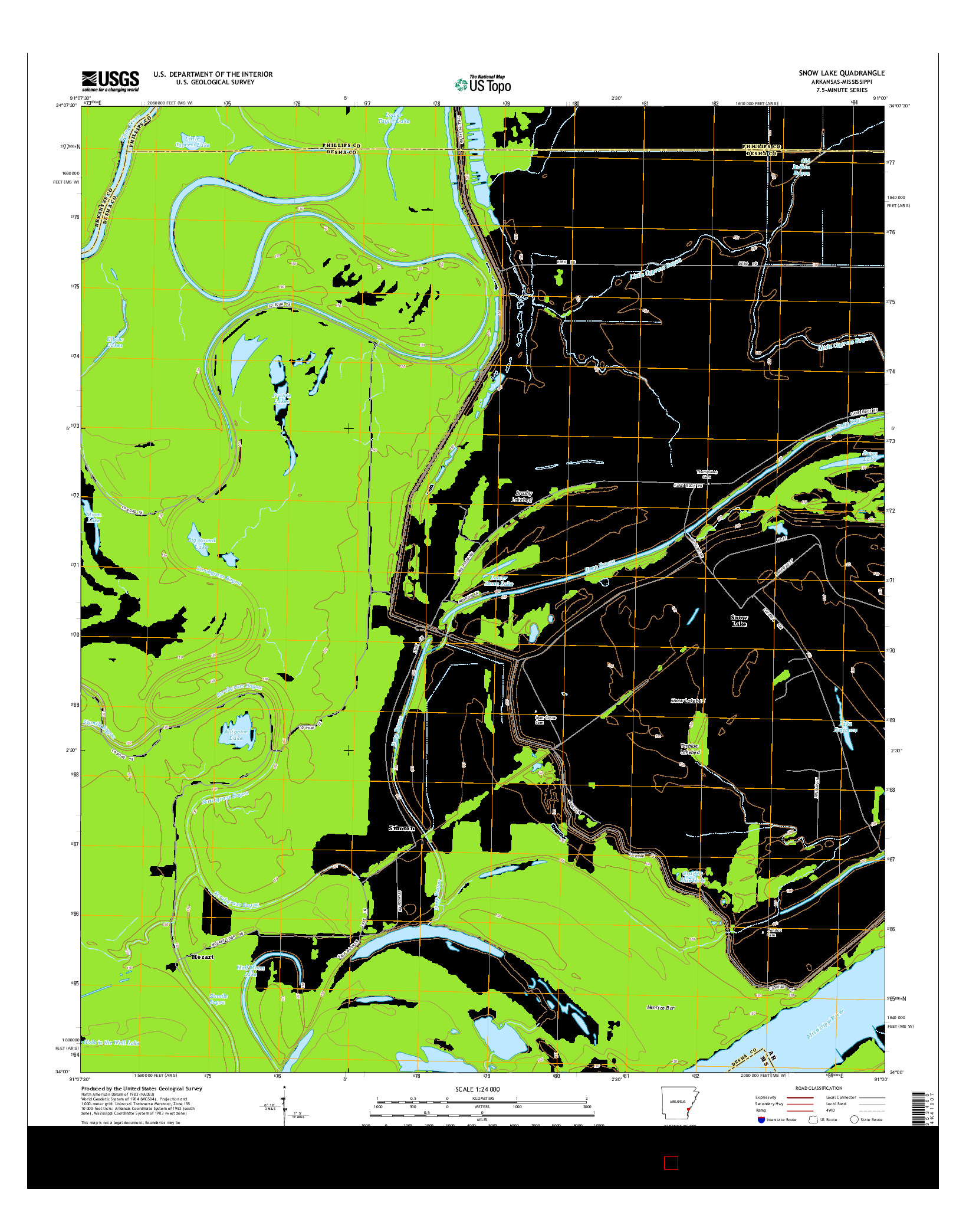 USGS US TOPO 7.5-MINUTE MAP FOR SNOW LAKE, AR-MS 2014