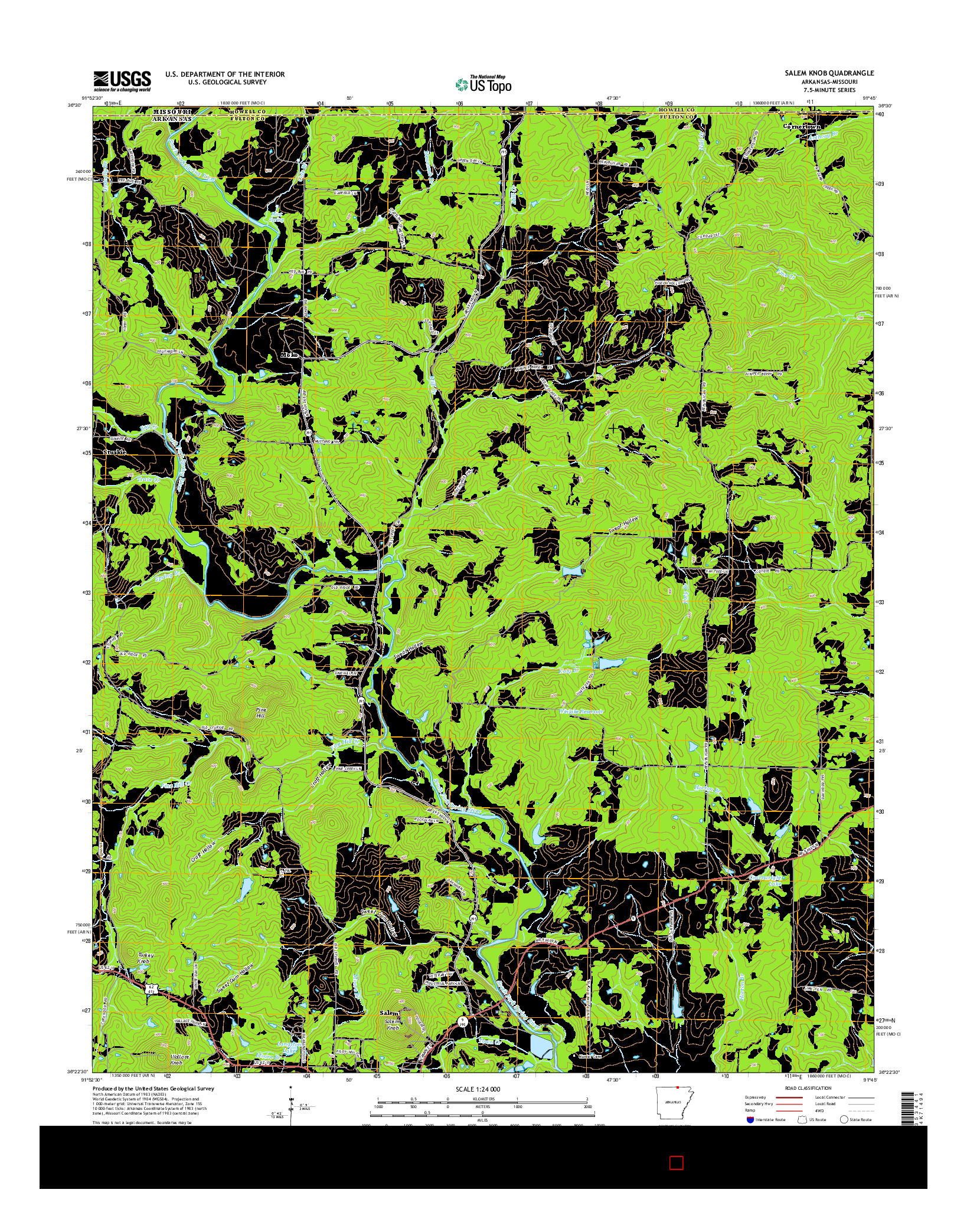 USGS US TOPO 7.5-MINUTE MAP FOR SALEM KNOB, AR-MO 2014
