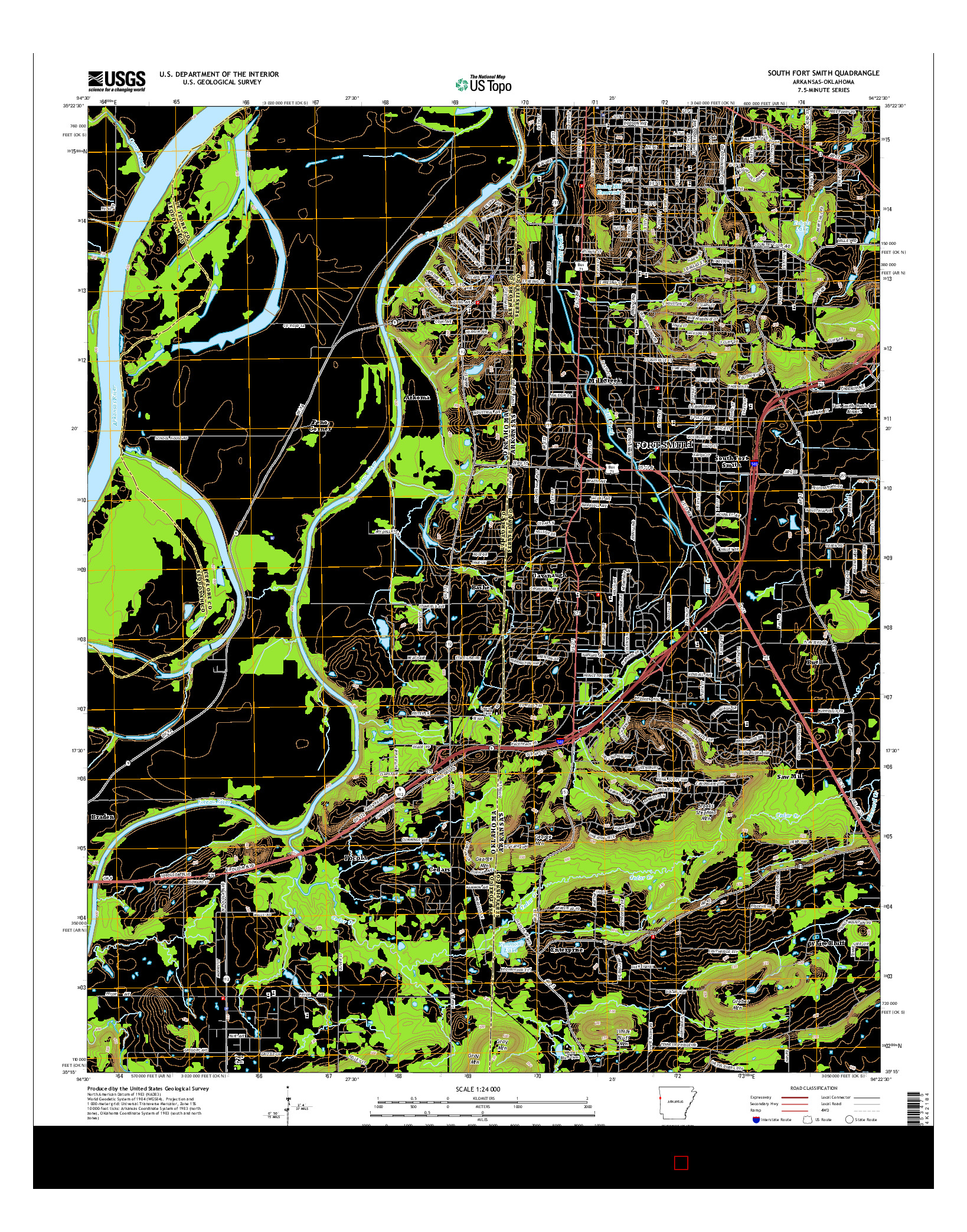 USGS US TOPO 7.5-MINUTE MAP FOR SOUTH FORT SMITH, AR-OK 2014