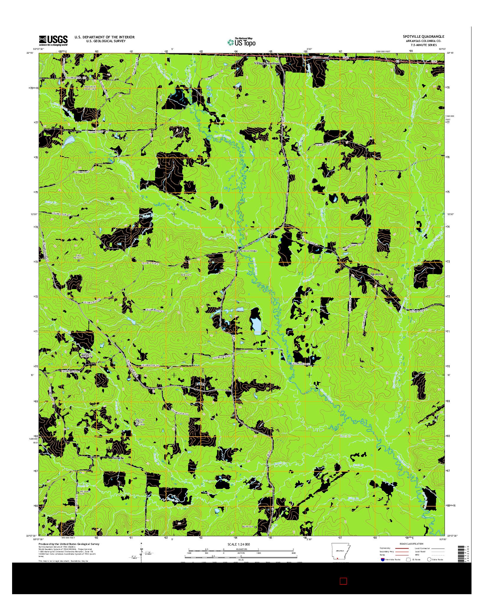 USGS US TOPO 7.5-MINUTE MAP FOR SPOTVILLE, AR 2014