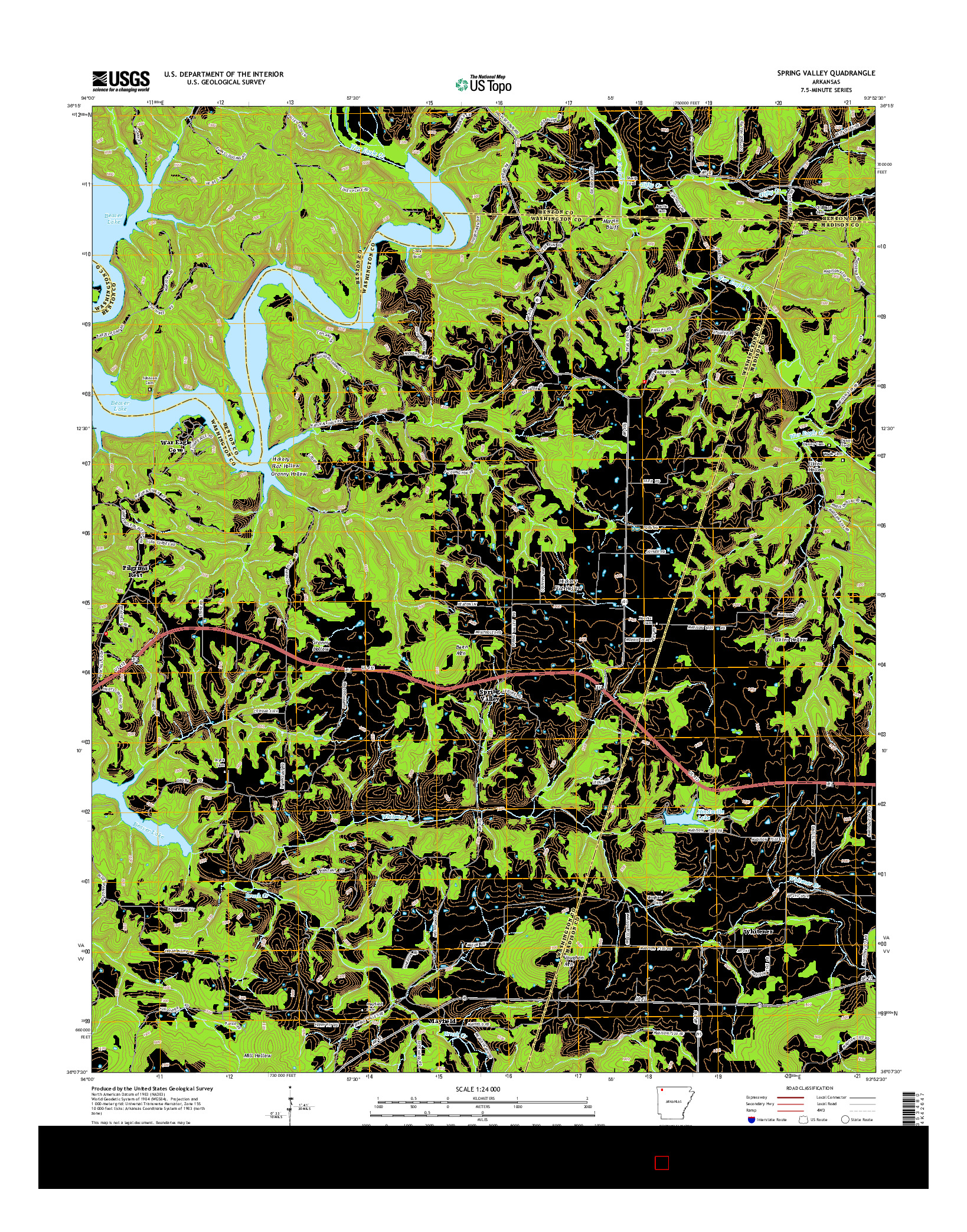 USGS US TOPO 7.5-MINUTE MAP FOR SPRING VALLEY, AR 2014