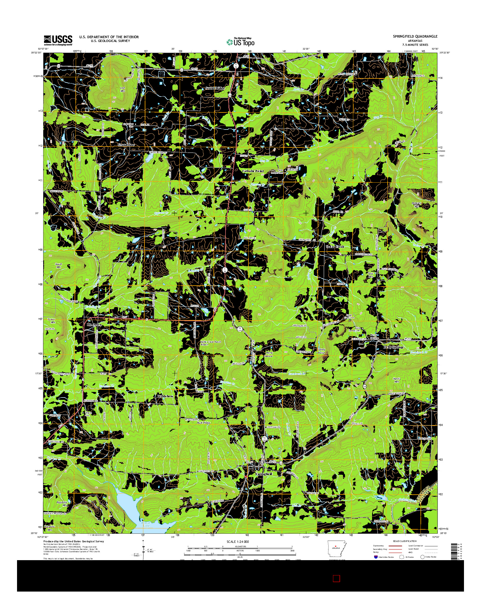 USGS US TOPO 7.5-MINUTE MAP FOR SPRINGFIELD, AR 2014