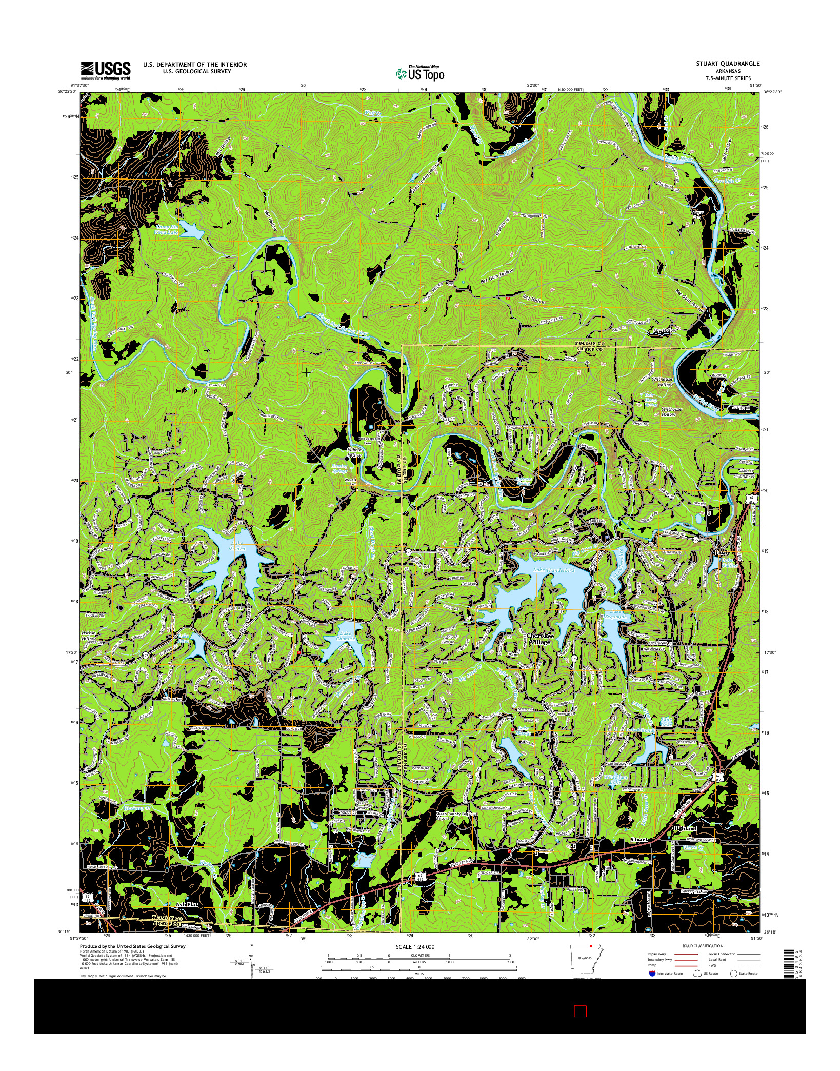 USGS US TOPO 7.5-MINUTE MAP FOR STUART, AR 2014