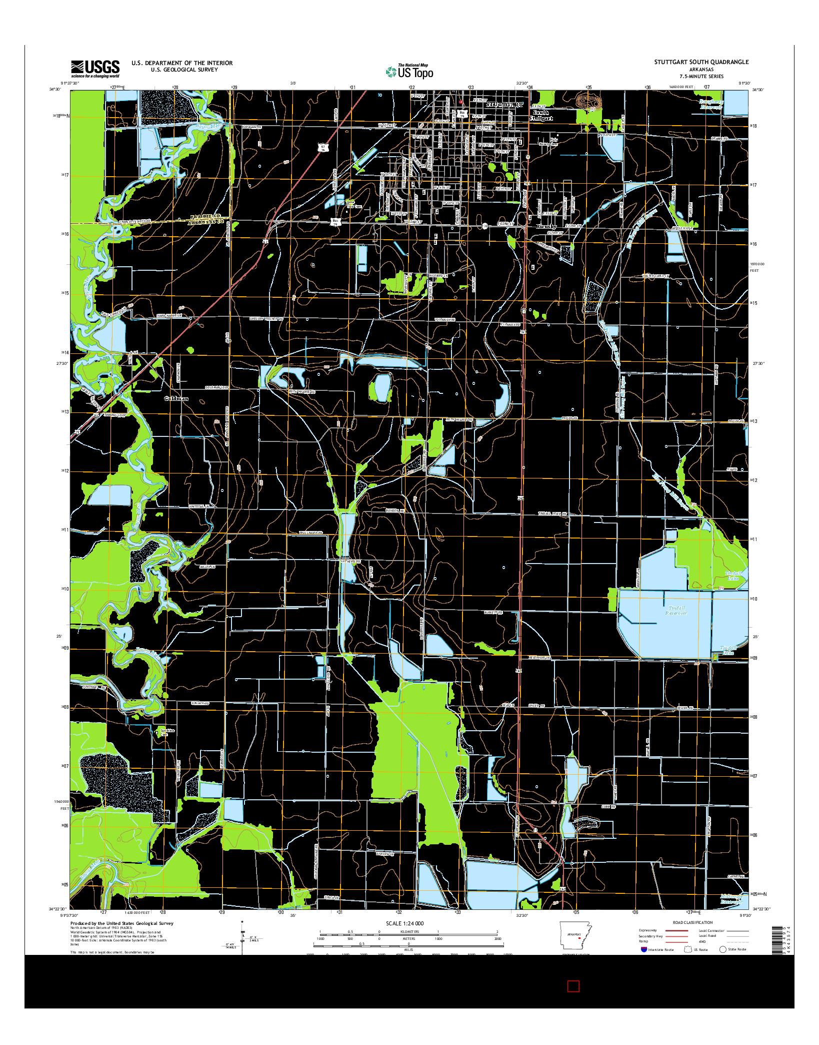USGS US TOPO 7.5-MINUTE MAP FOR STUTTGART SOUTH, AR 2014
