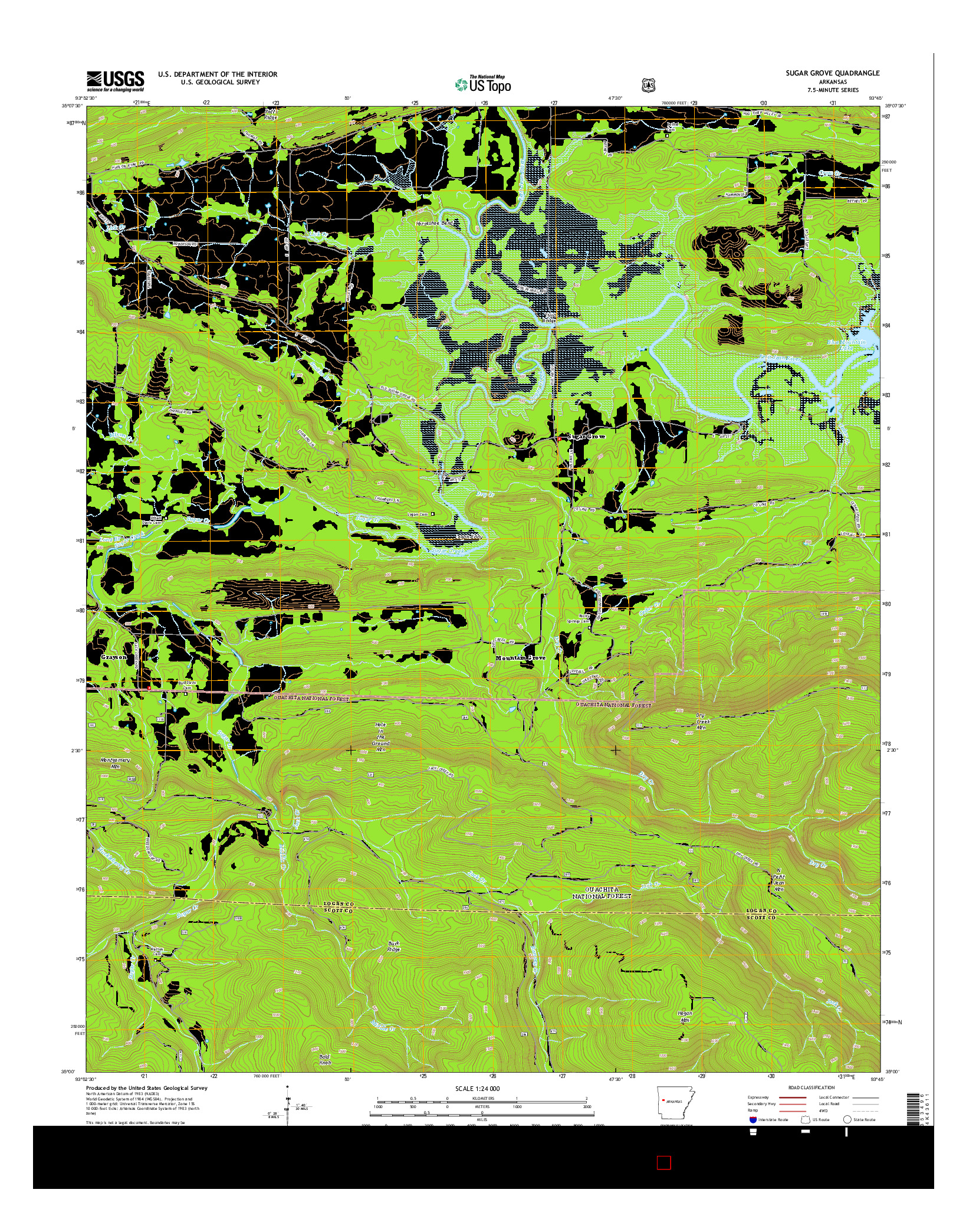 USGS US TOPO 7.5-MINUTE MAP FOR SUGAR GROVE, AR 2014