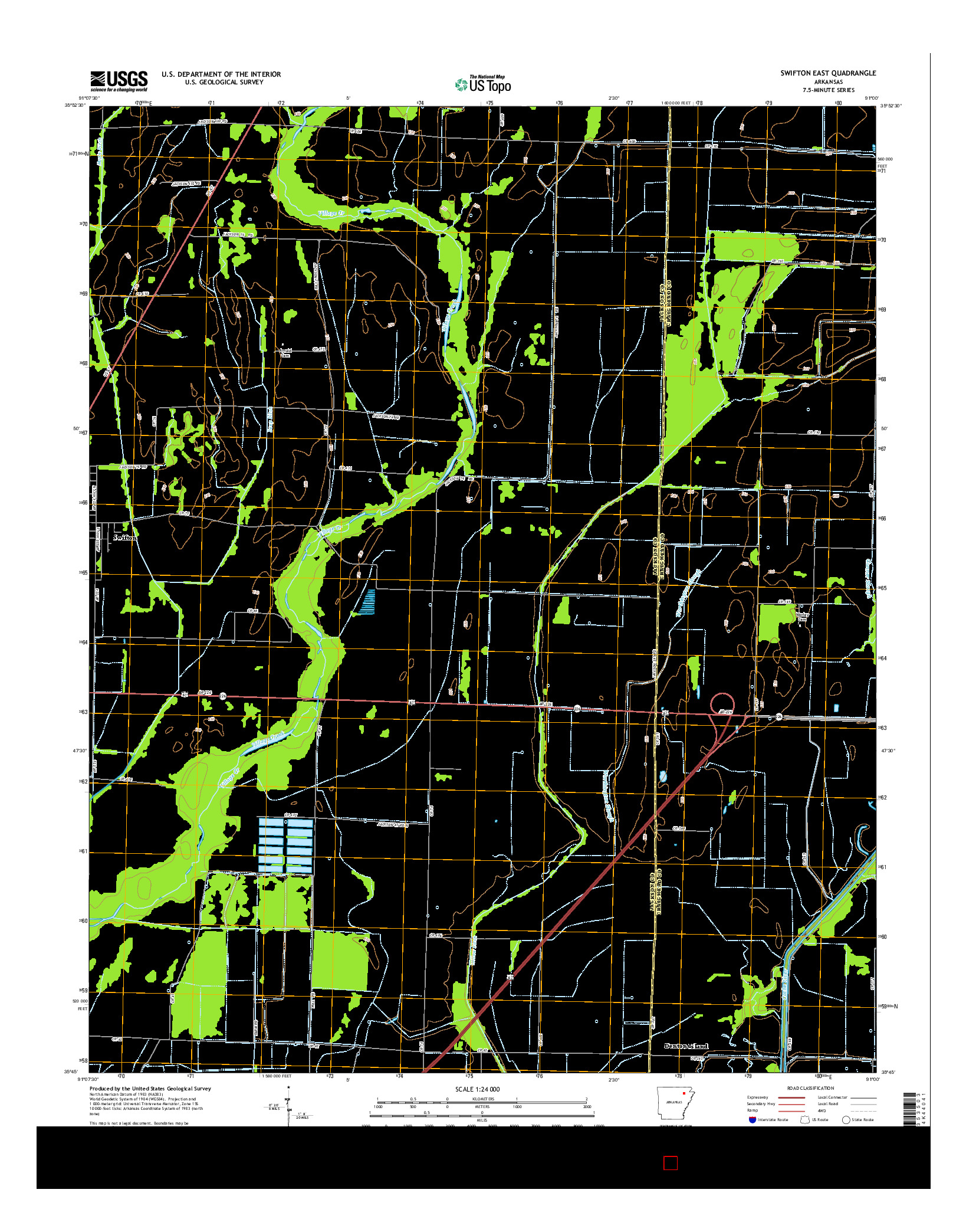 USGS US TOPO 7.5-MINUTE MAP FOR SWIFTON EAST, AR 2014