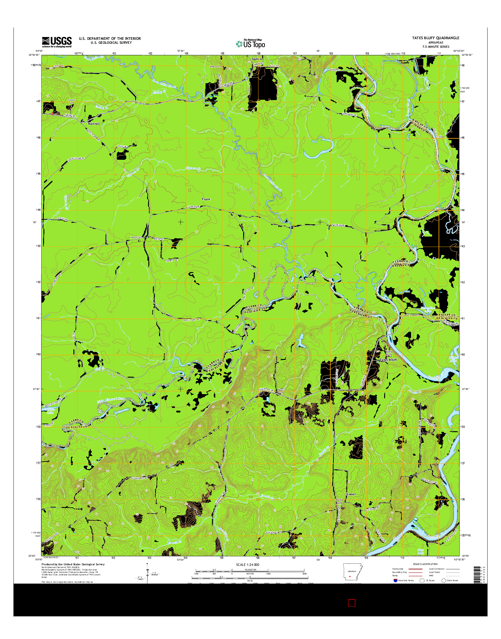 USGS US TOPO 7.5-MINUTE MAP FOR TATES BLUFF, AR 2014
