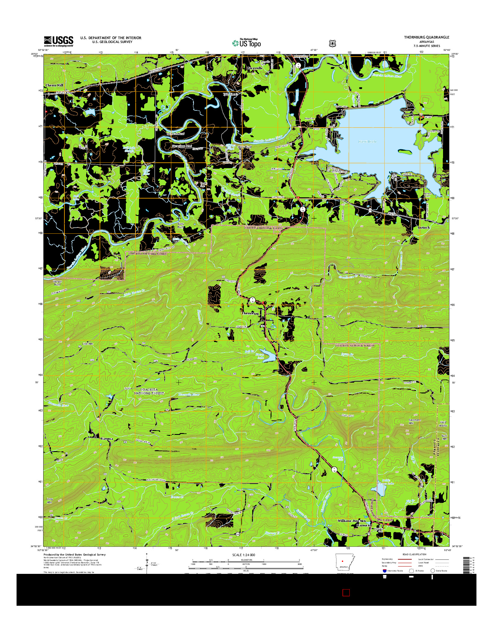 USGS US TOPO 7.5-MINUTE MAP FOR THORNBURG, AR 2014