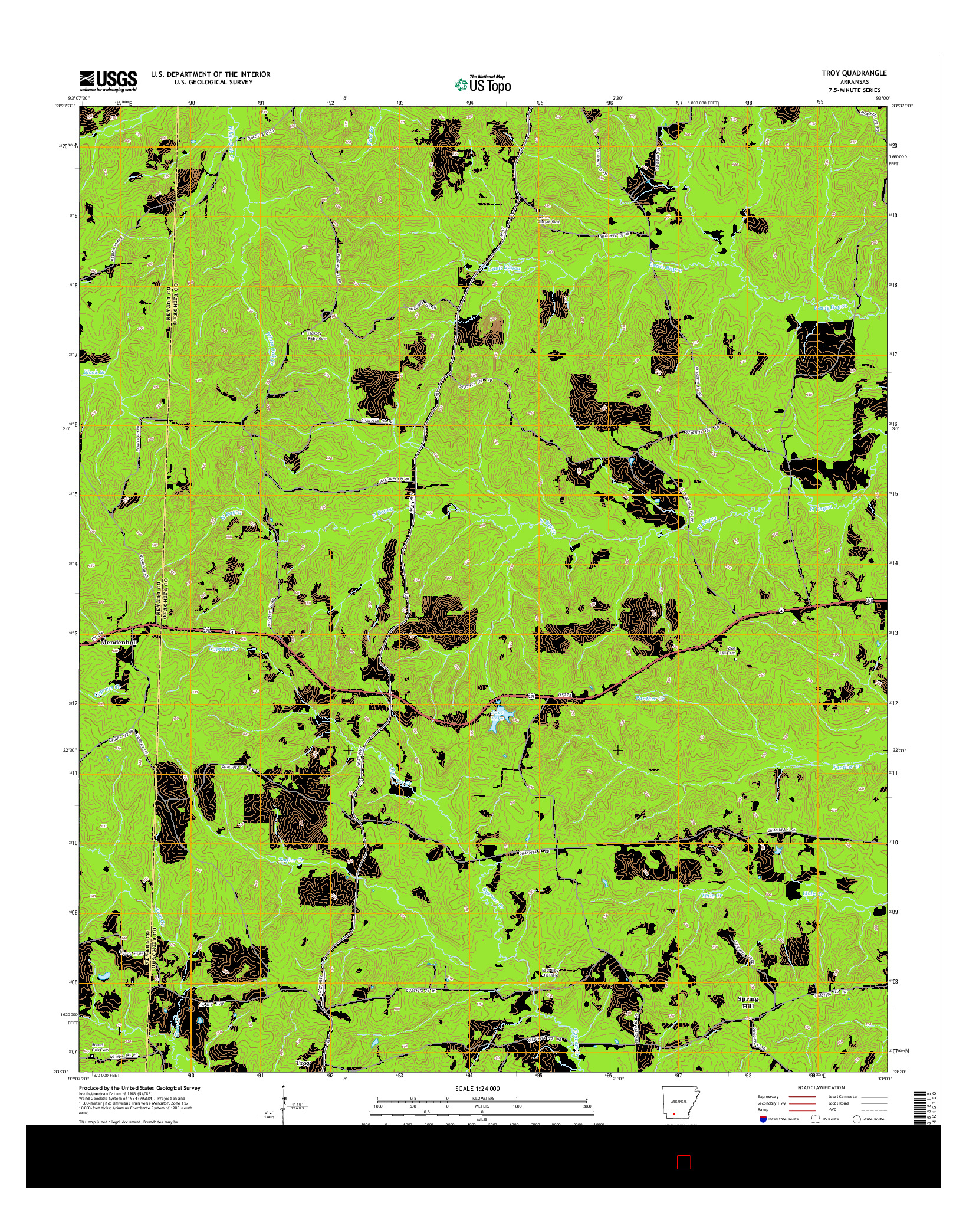 USGS US TOPO 7.5-MINUTE MAP FOR TROY, AR 2014