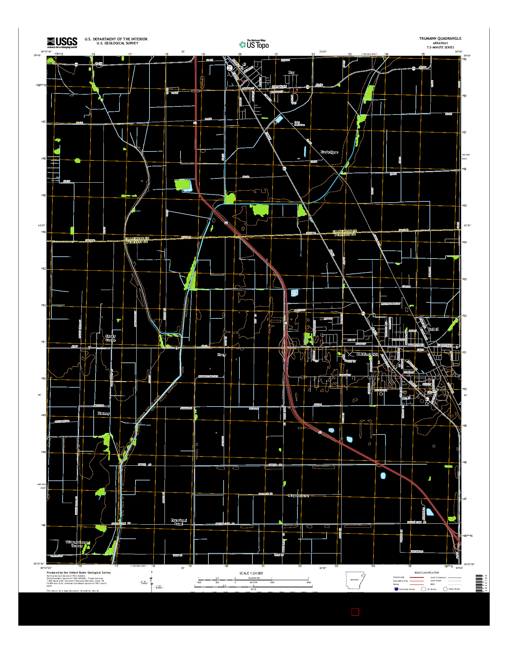 USGS US TOPO 7.5-MINUTE MAP FOR TRUMANN, AR 2014