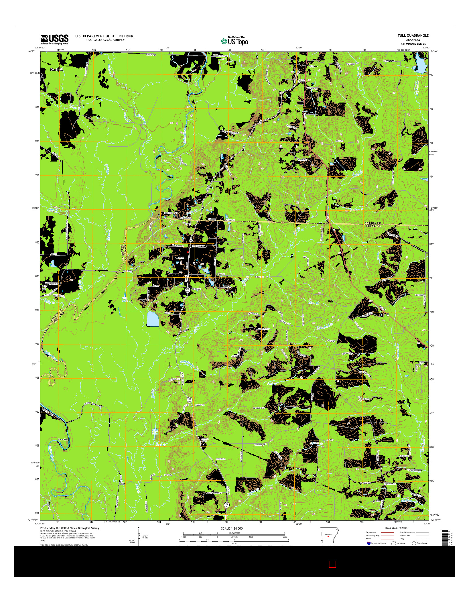 USGS US TOPO 7.5-MINUTE MAP FOR TULL, AR 2014