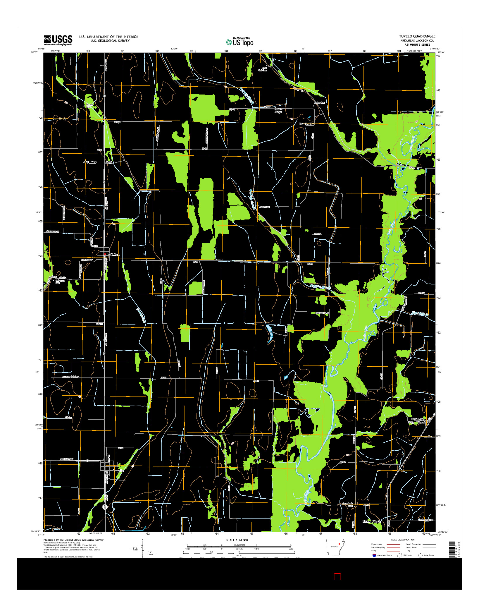 USGS US TOPO 7.5-MINUTE MAP FOR TUPELO, AR 2014