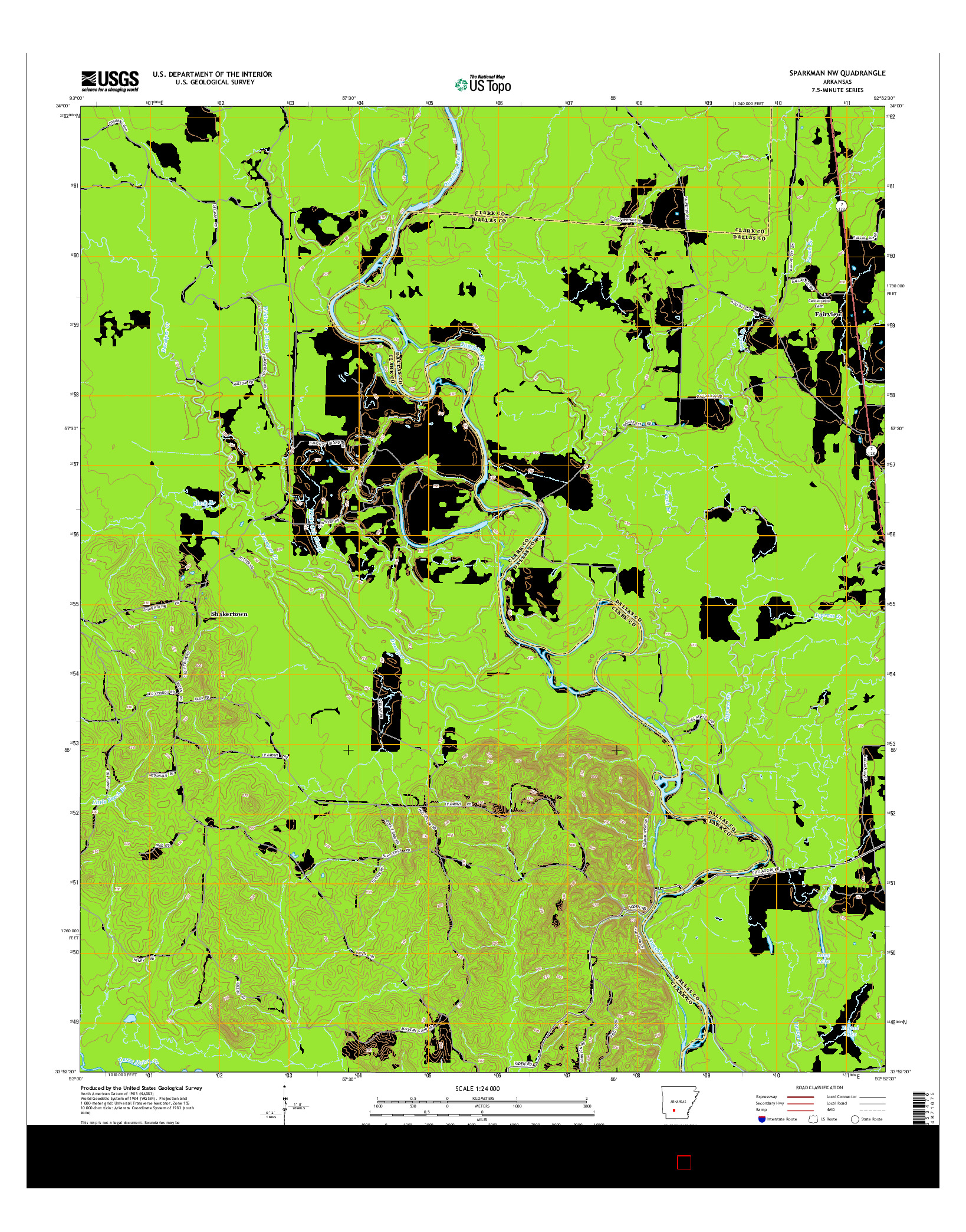 USGS US TOPO 7.5-MINUTE MAP FOR SPARKMAN NW, AR 2014