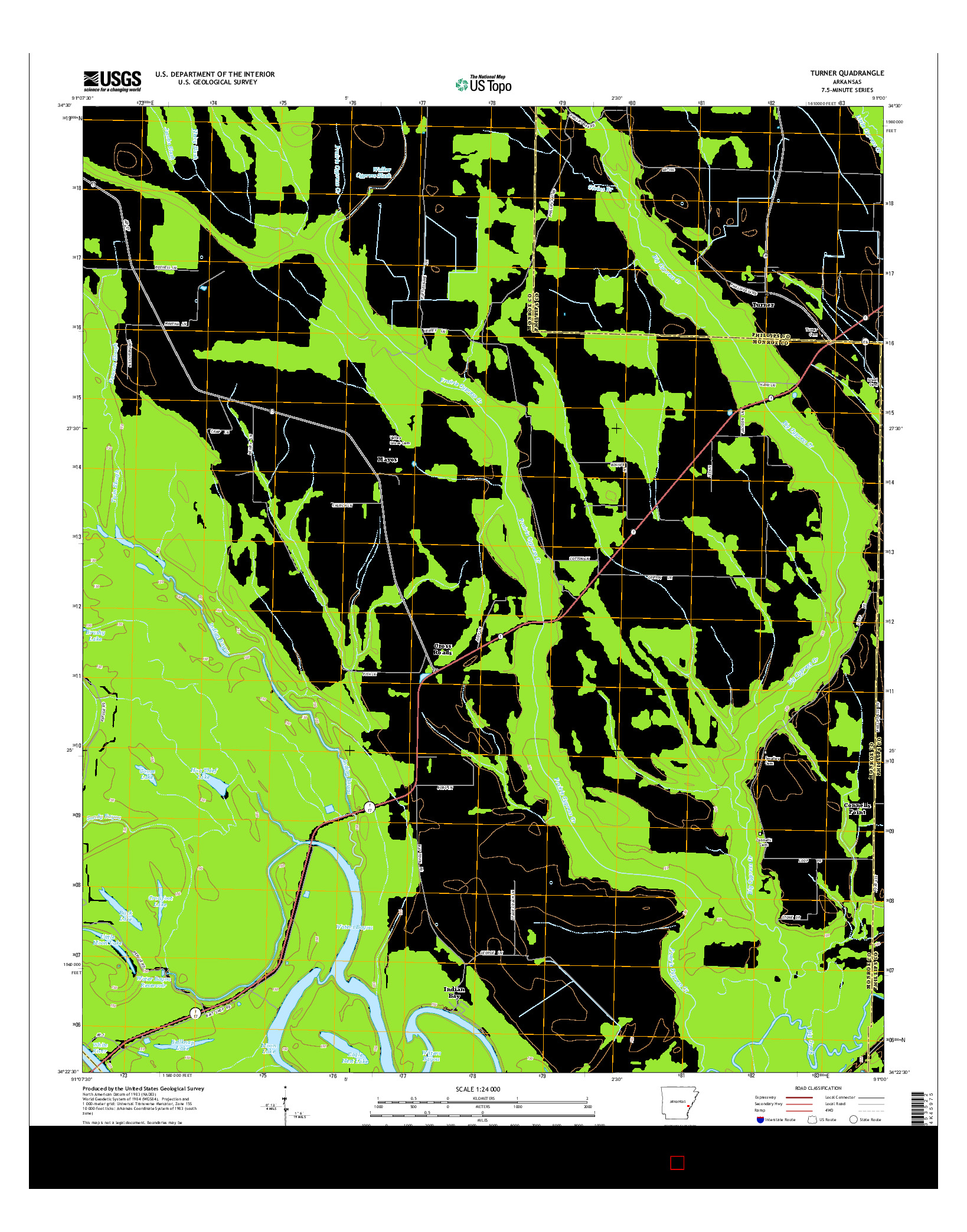 USGS US TOPO 7.5-MINUTE MAP FOR TURNER, AR 2014