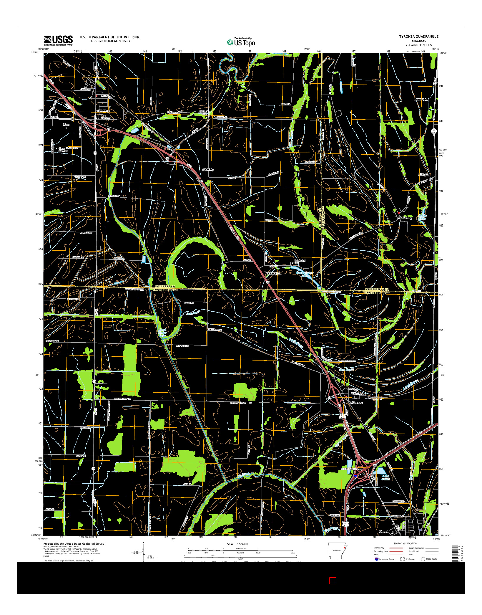USGS US TOPO 7.5-MINUTE MAP FOR TYRONZA, AR 2014
