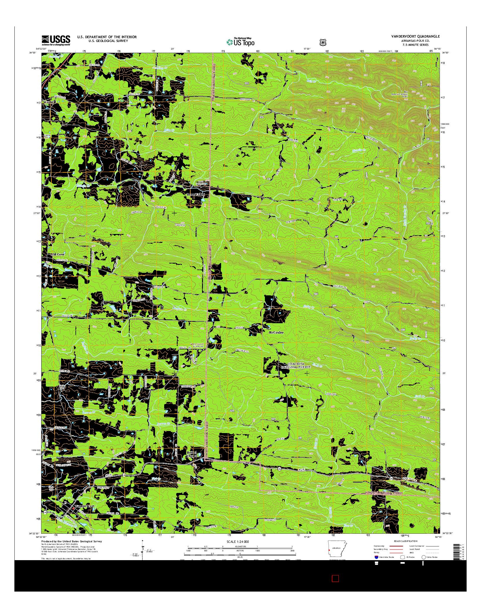 USGS US TOPO 7.5-MINUTE MAP FOR VANDERVOORT, AR 2014