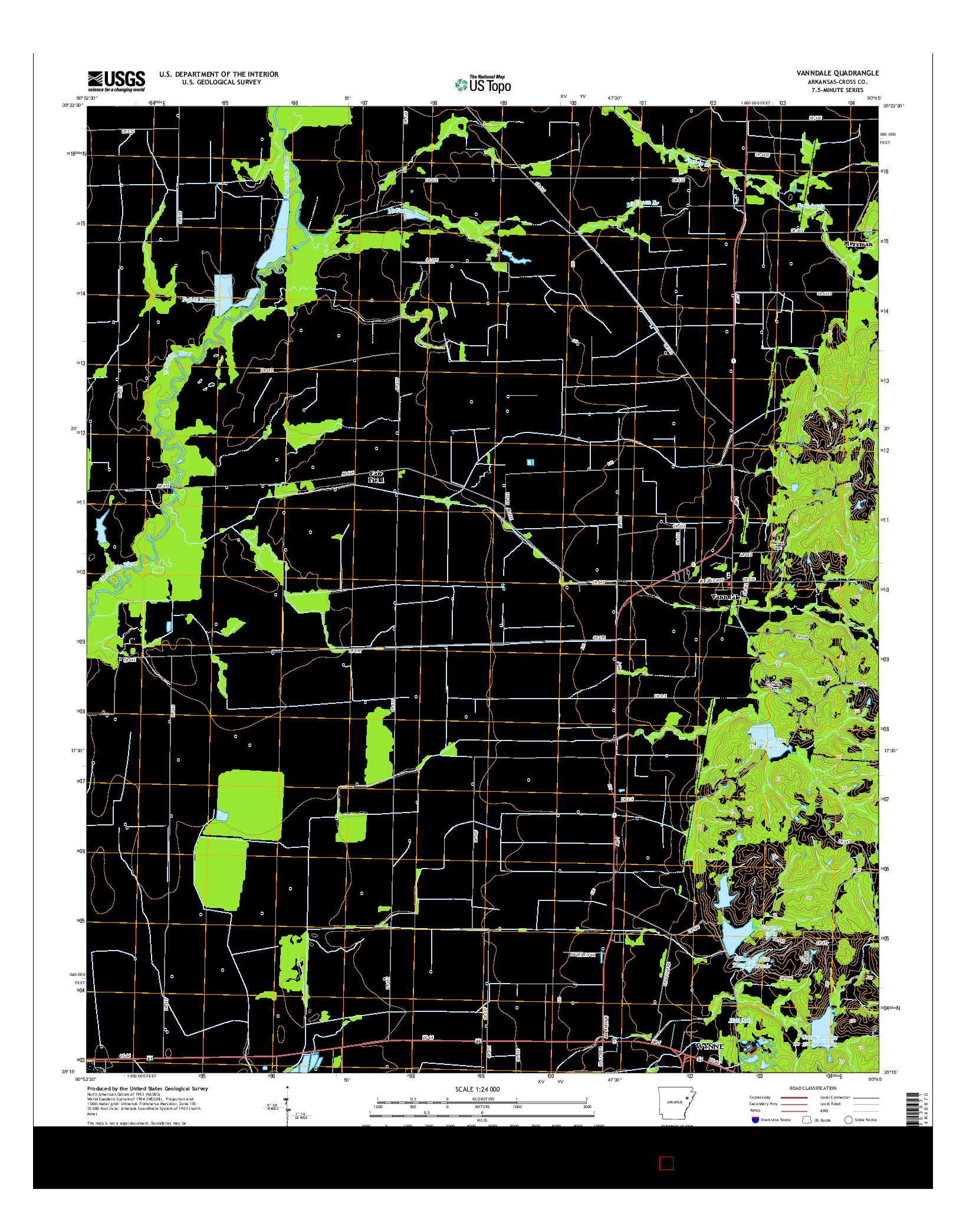 USGS US TOPO 7.5-MINUTE MAP FOR VANNDALE, AR 2014