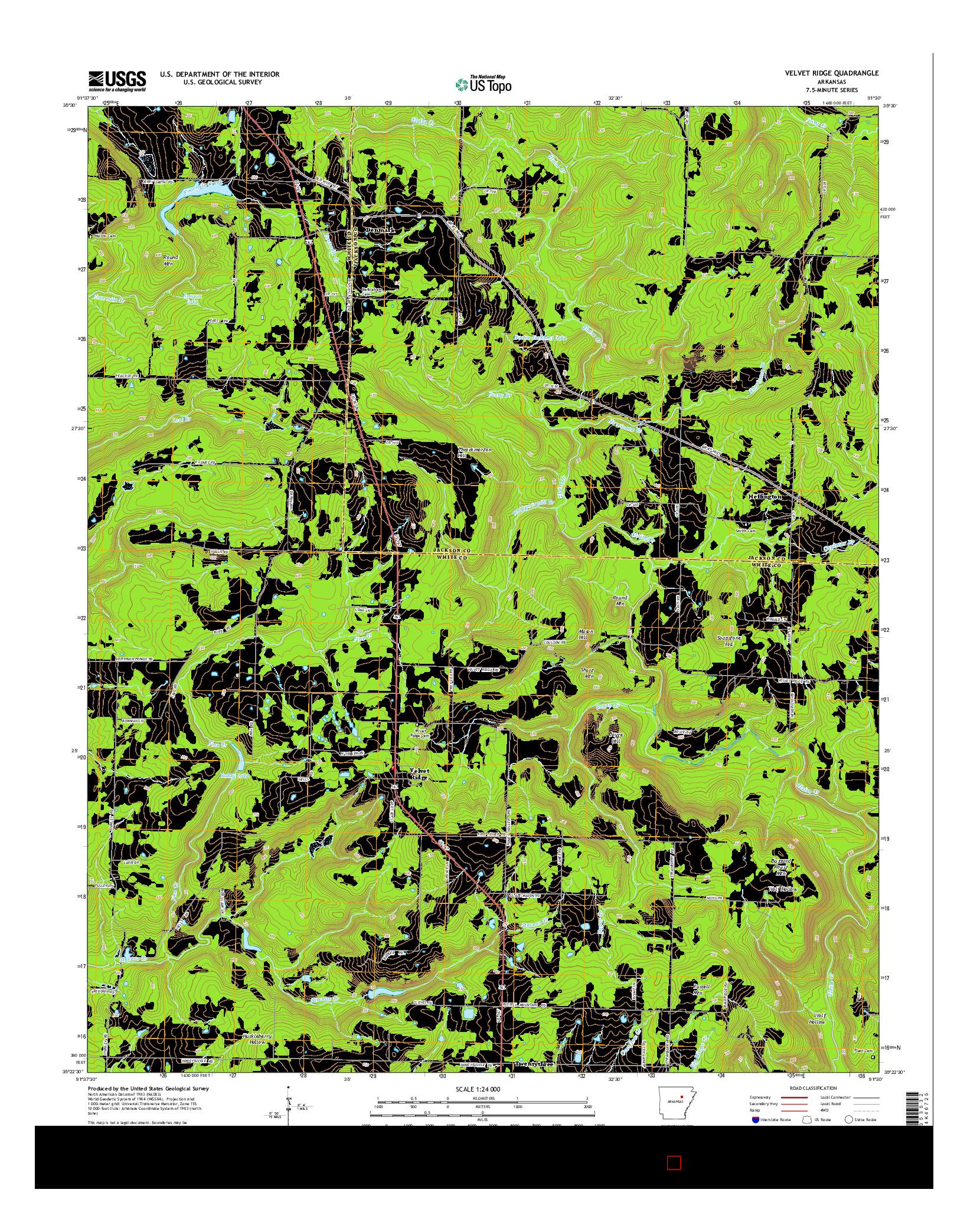 USGS US TOPO 7.5-MINUTE MAP FOR VELVET RIDGE, AR 2014