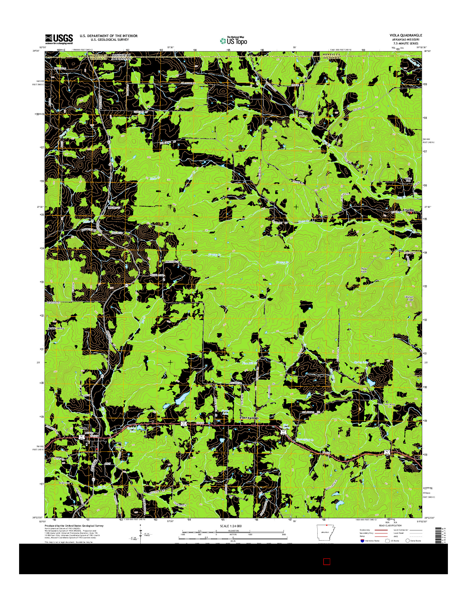 USGS US TOPO 7.5-MINUTE MAP FOR VIOLA, AR-MO 2014