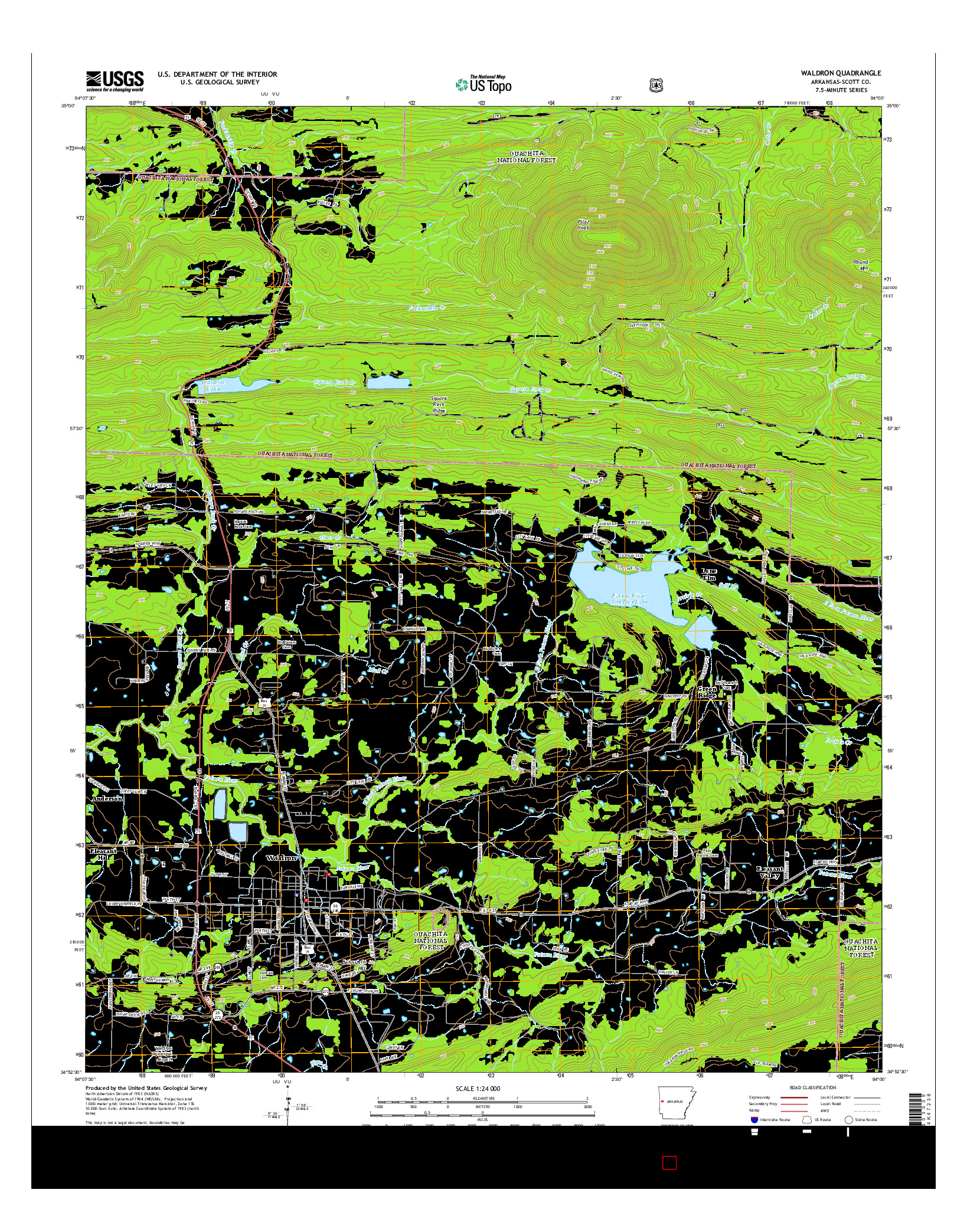 USGS US TOPO 7.5-MINUTE MAP FOR WALDRON, AR 2014