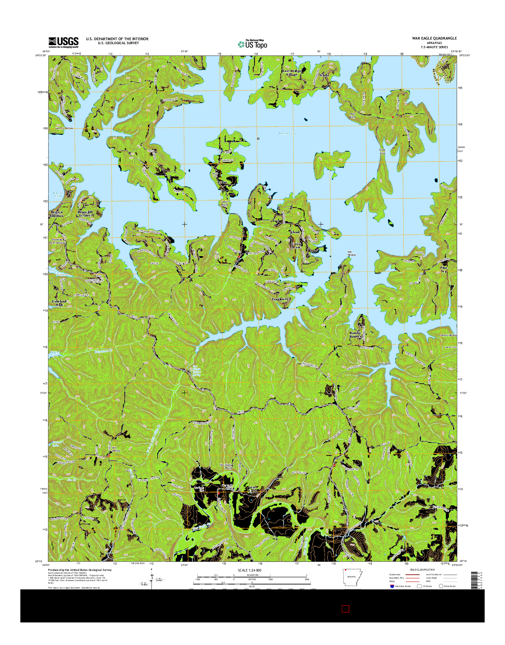 USGS US TOPO 7.5-MINUTE MAP FOR WAR EAGLE, AR 2014