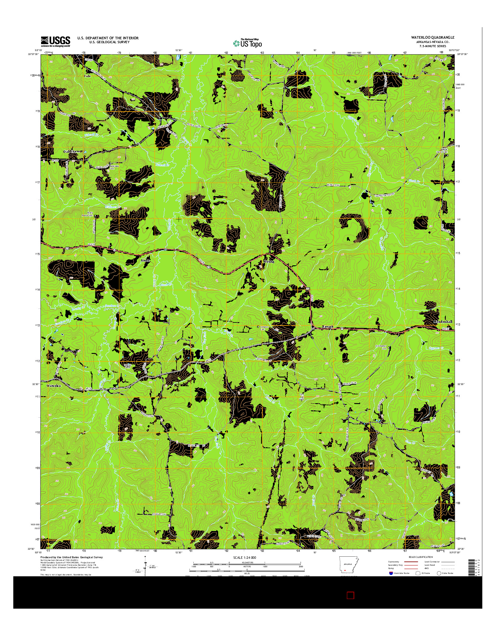 USGS US TOPO 7.5-MINUTE MAP FOR WATERLOO, AR 2014