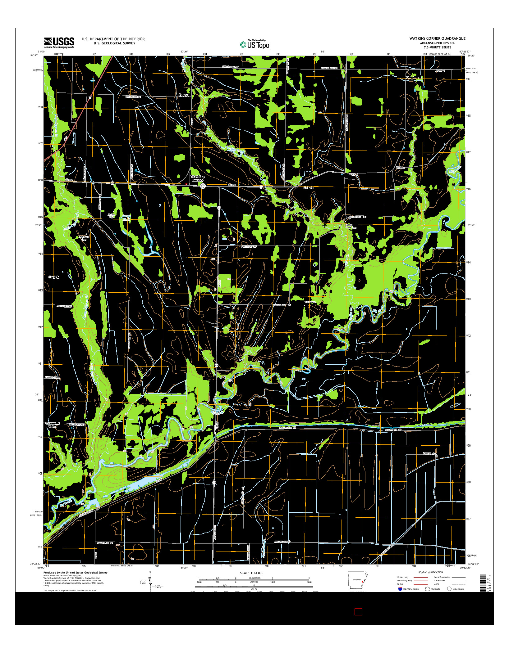 USGS US TOPO 7.5-MINUTE MAP FOR WATKINS CORNER, AR 2014