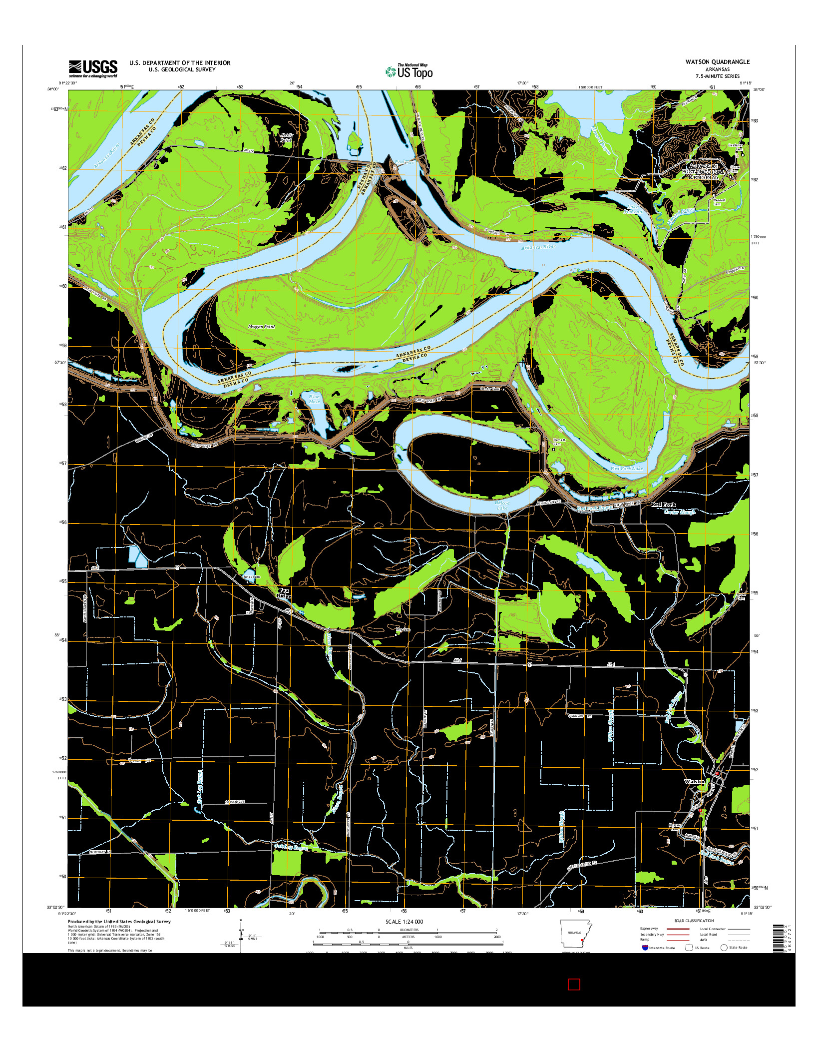 USGS US TOPO 7.5-MINUTE MAP FOR WATSON, AR 2014
