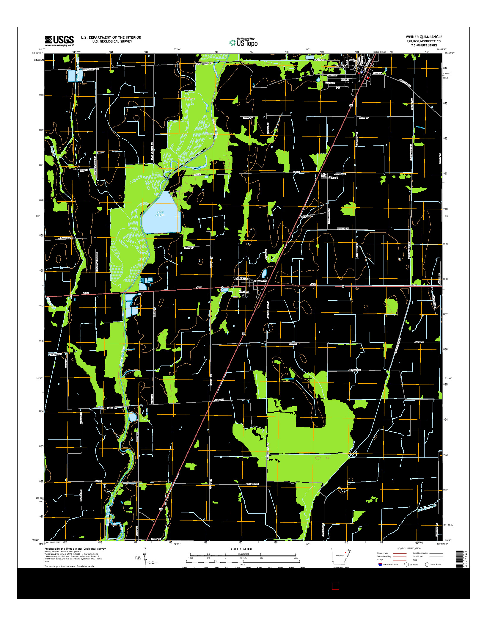 USGS US TOPO 7.5-MINUTE MAP FOR WEINER, AR 2014