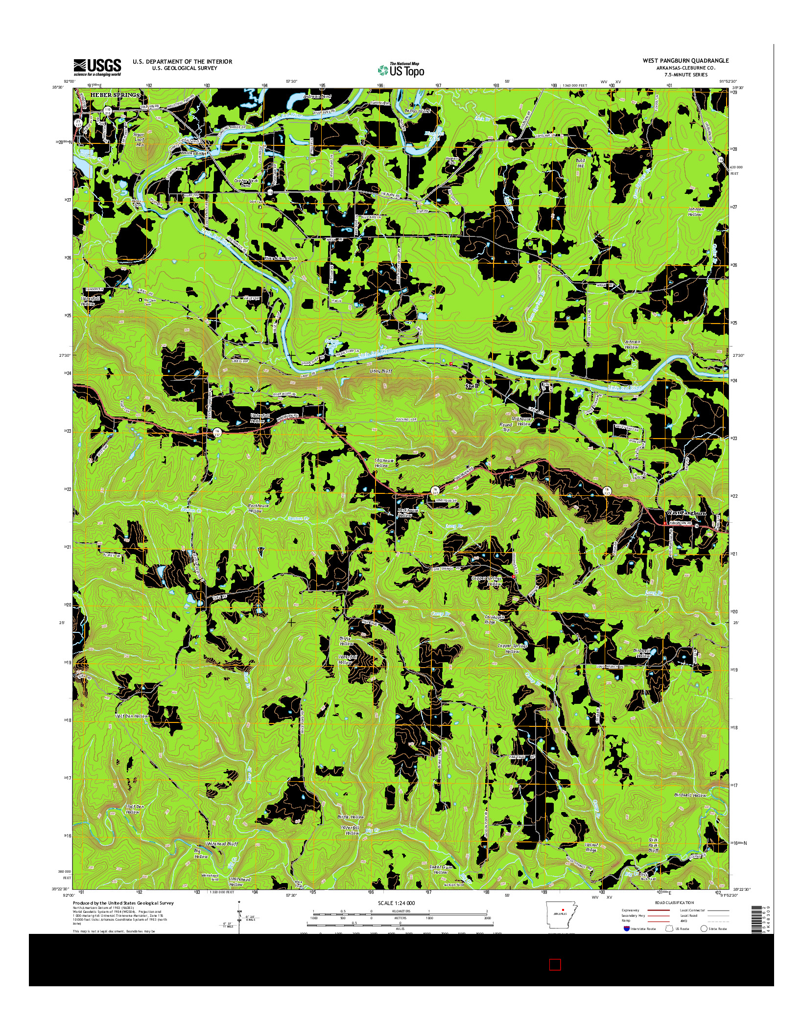 USGS US TOPO 7.5-MINUTE MAP FOR WEST PANGBURN, AR 2014