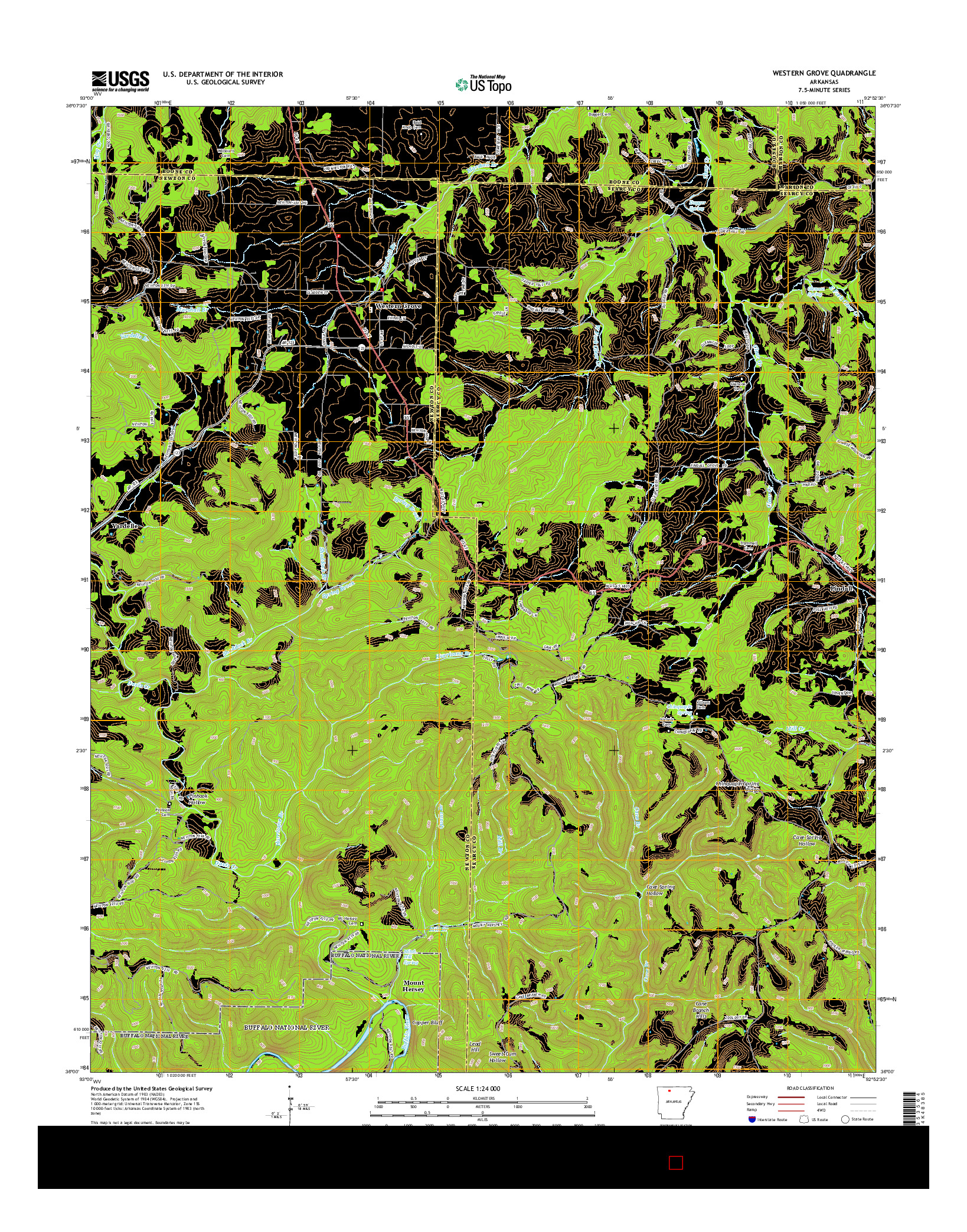 USGS US TOPO 7.5-MINUTE MAP FOR WESTERN GROVE, AR 2014