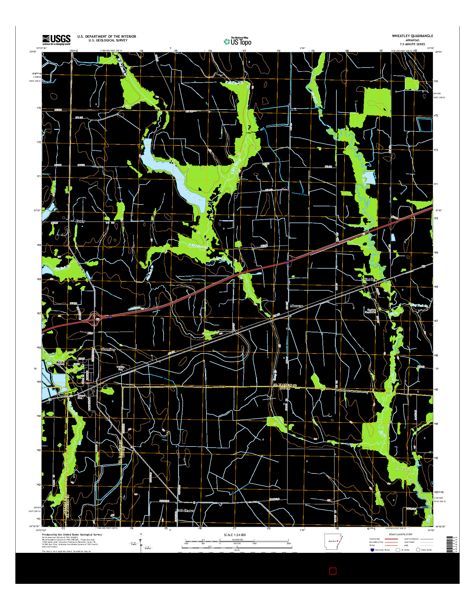 USGS US TOPO 7.5-MINUTE MAP FOR WHEATLEY, AR 2014