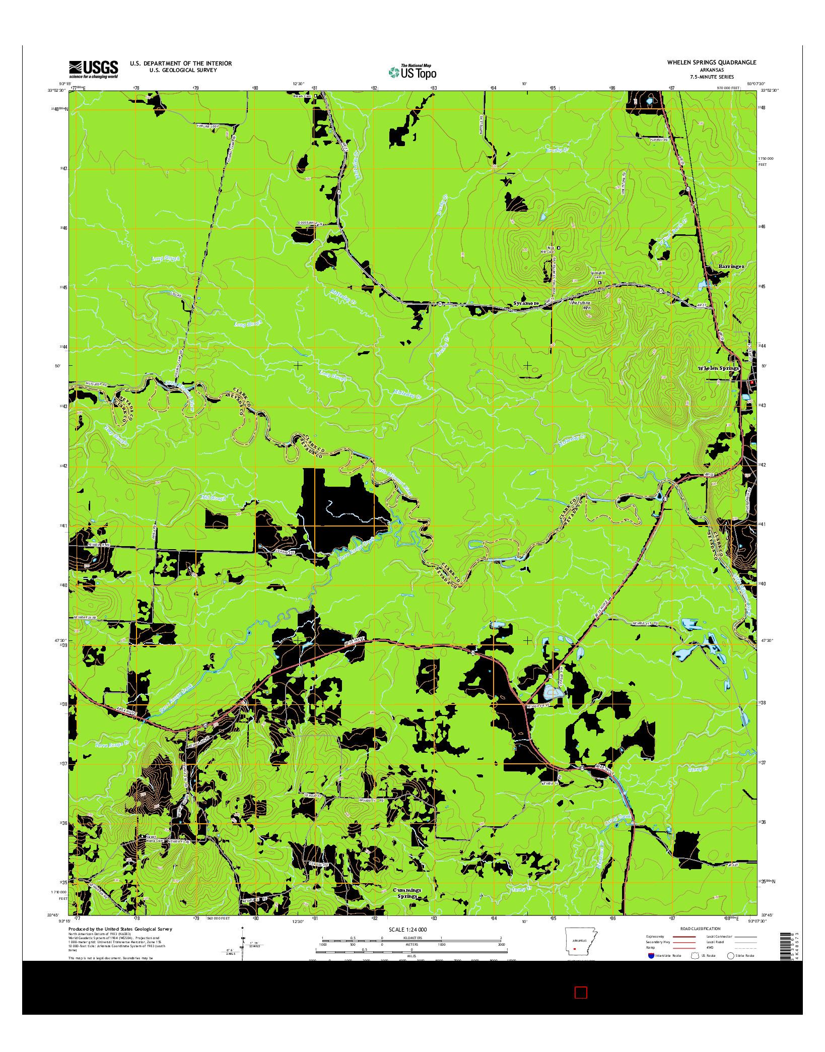 USGS US TOPO 7.5-MINUTE MAP FOR WHELEN SPRINGS, AR 2014