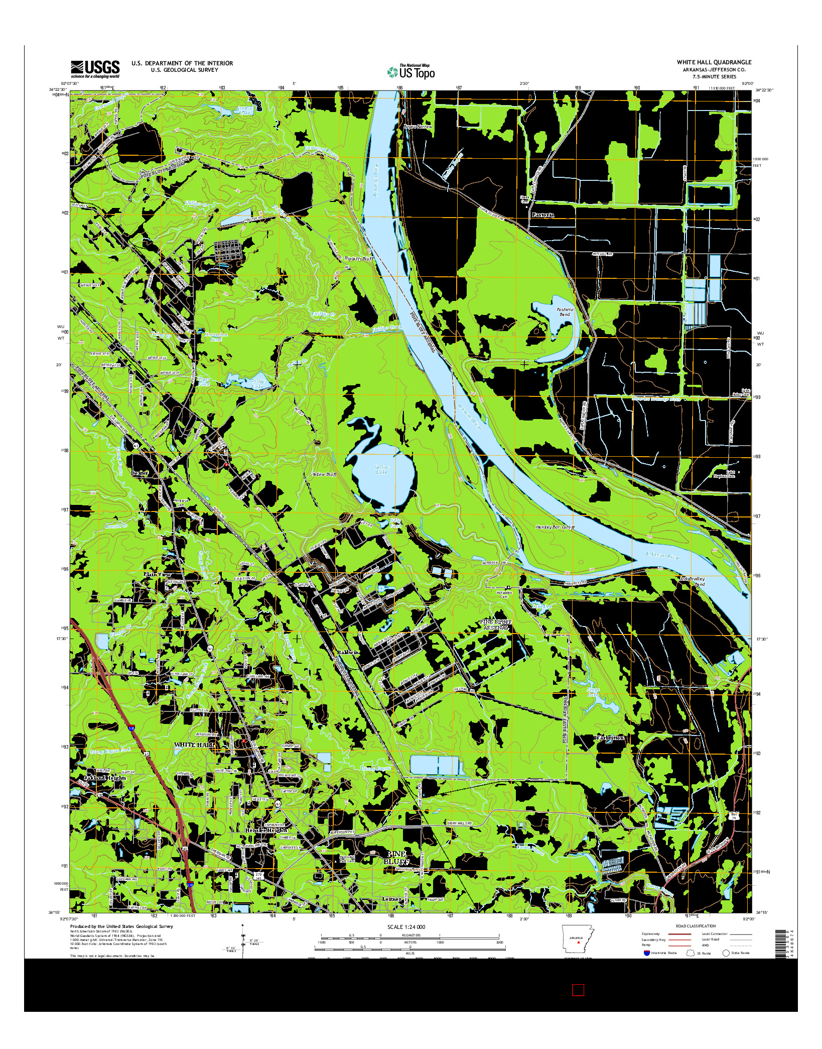 USGS US TOPO 7.5-MINUTE MAP FOR WHITE HALL, AR 2014